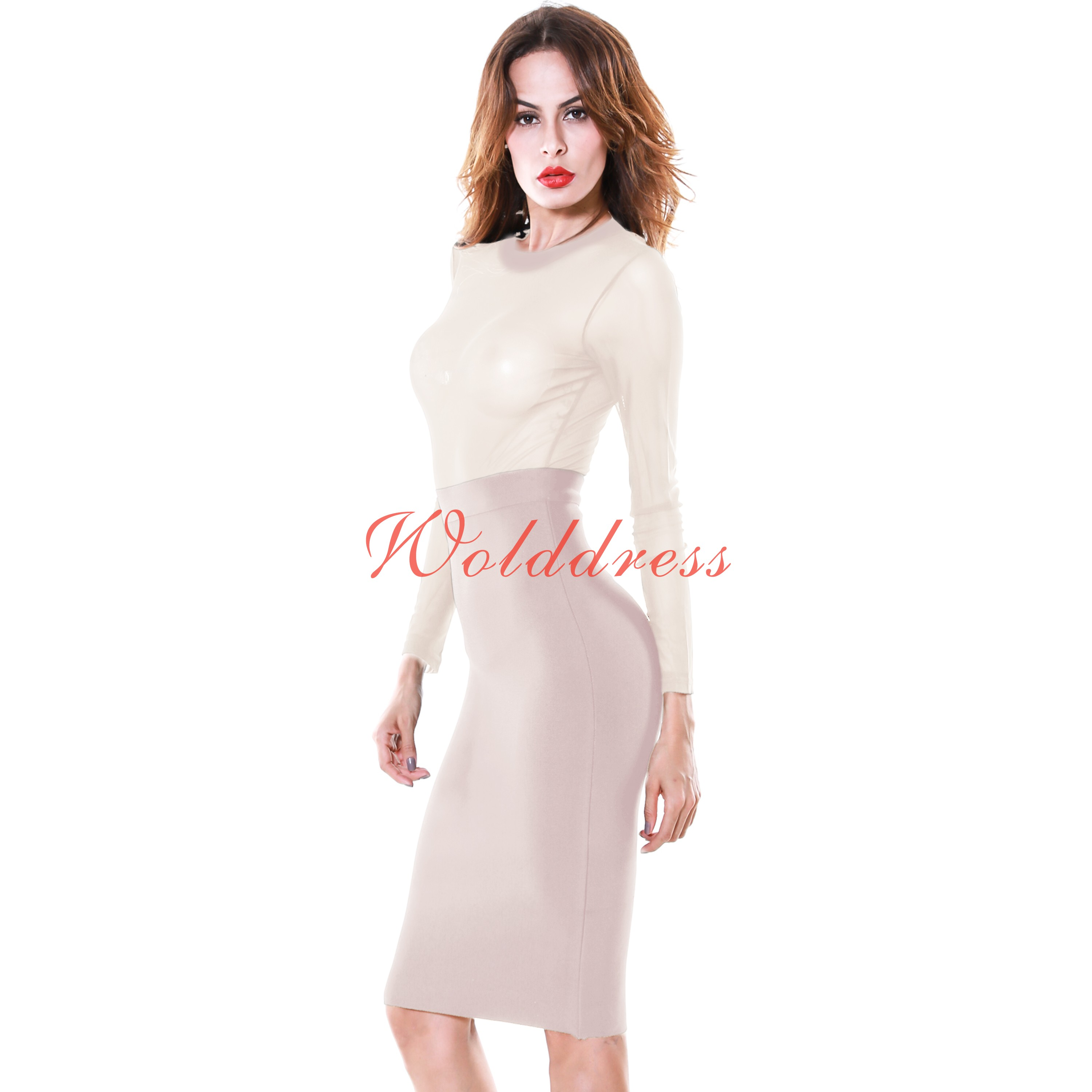 Rayon - Round Neck Top Sheer Mesh Long Sleeves Cocktail Evening Party Bandage Dress HJ318-Nude