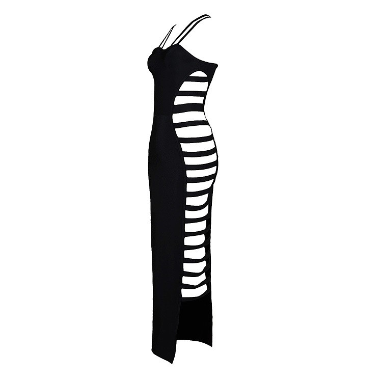 Rayon - Fashion Halter Sleeveless Over Knee Black Cut Out Sexy Fancy Bandage Dress