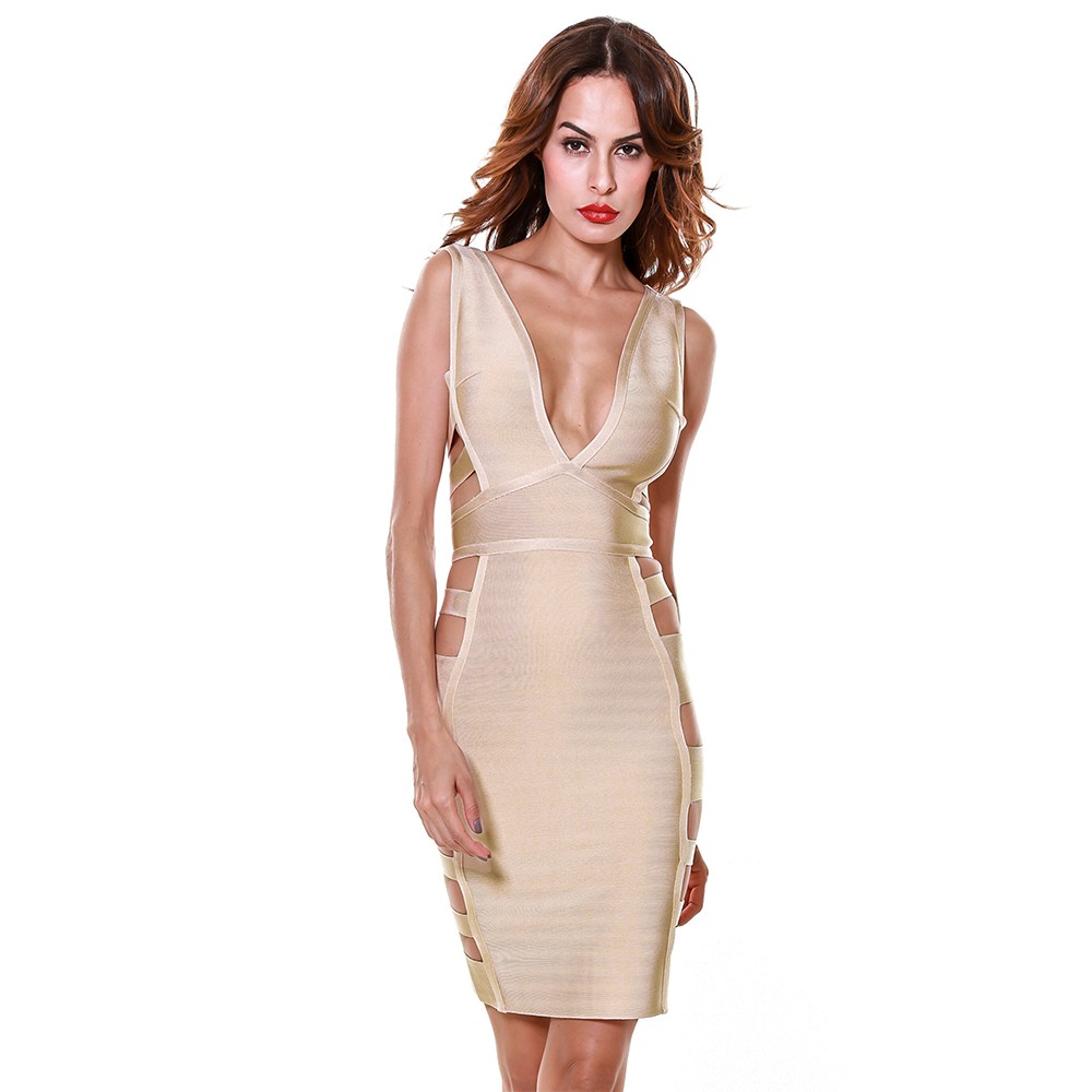 Rayon - Club V Neck Sleeveless Mini Nude Side Cut Out Hollow Out Bandage Dress HJ340-Nude