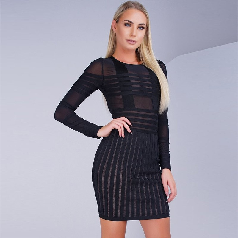 Rayon - Round Neck Longsleeve Dropshipping New Mesh Black Bandage Dress HJ351-Black