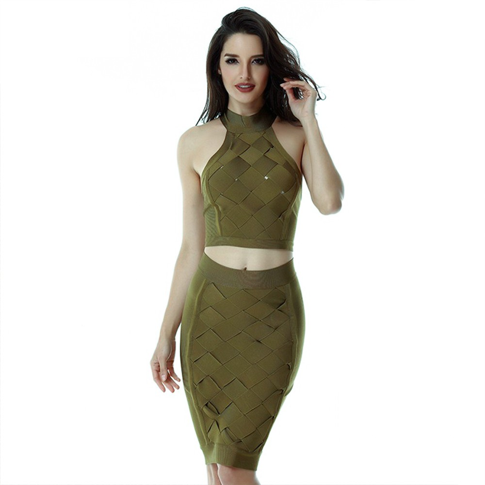 Rayon - Green Halter Sleeveless 2 Piece Knitted Backless New Bandage Dress