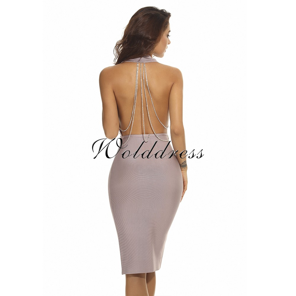 Rayon - Nude Halter Sleeveless Knee Length Deep V Back Open With Chain Sexy Bandage Dress  HJ392-Nude