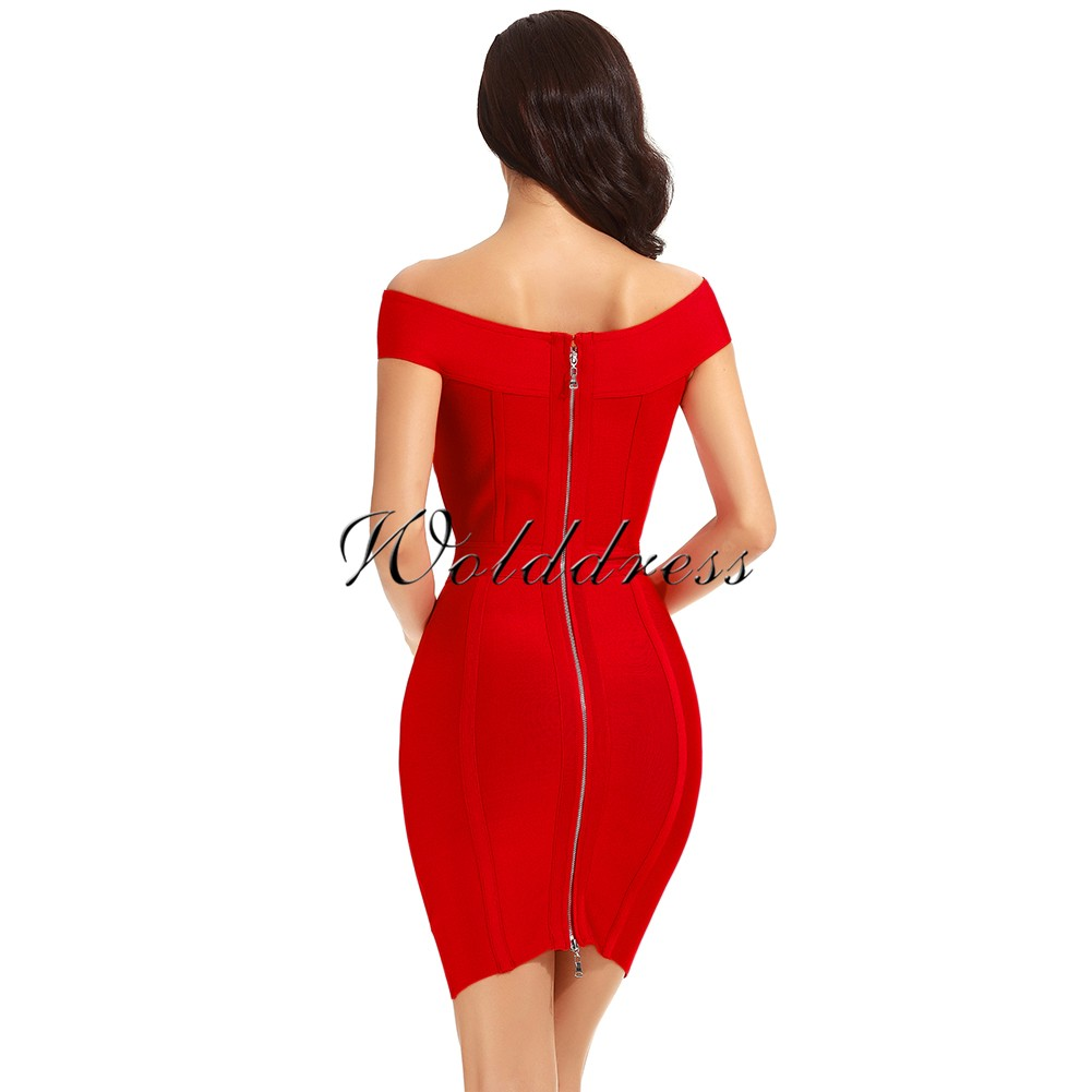Rayon - Red Off Shoulder Cap Sleeve Mini Lace Up Sexy Fashion Bandage Dress HJ401-Red
