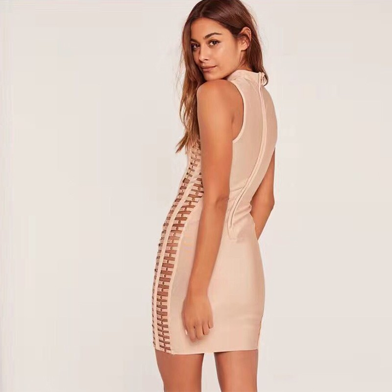 Rayon - Nude High Neck Sleeveless Mini Metal Embellished Cut Out High Quality Bandage Dress HJ402-Nude