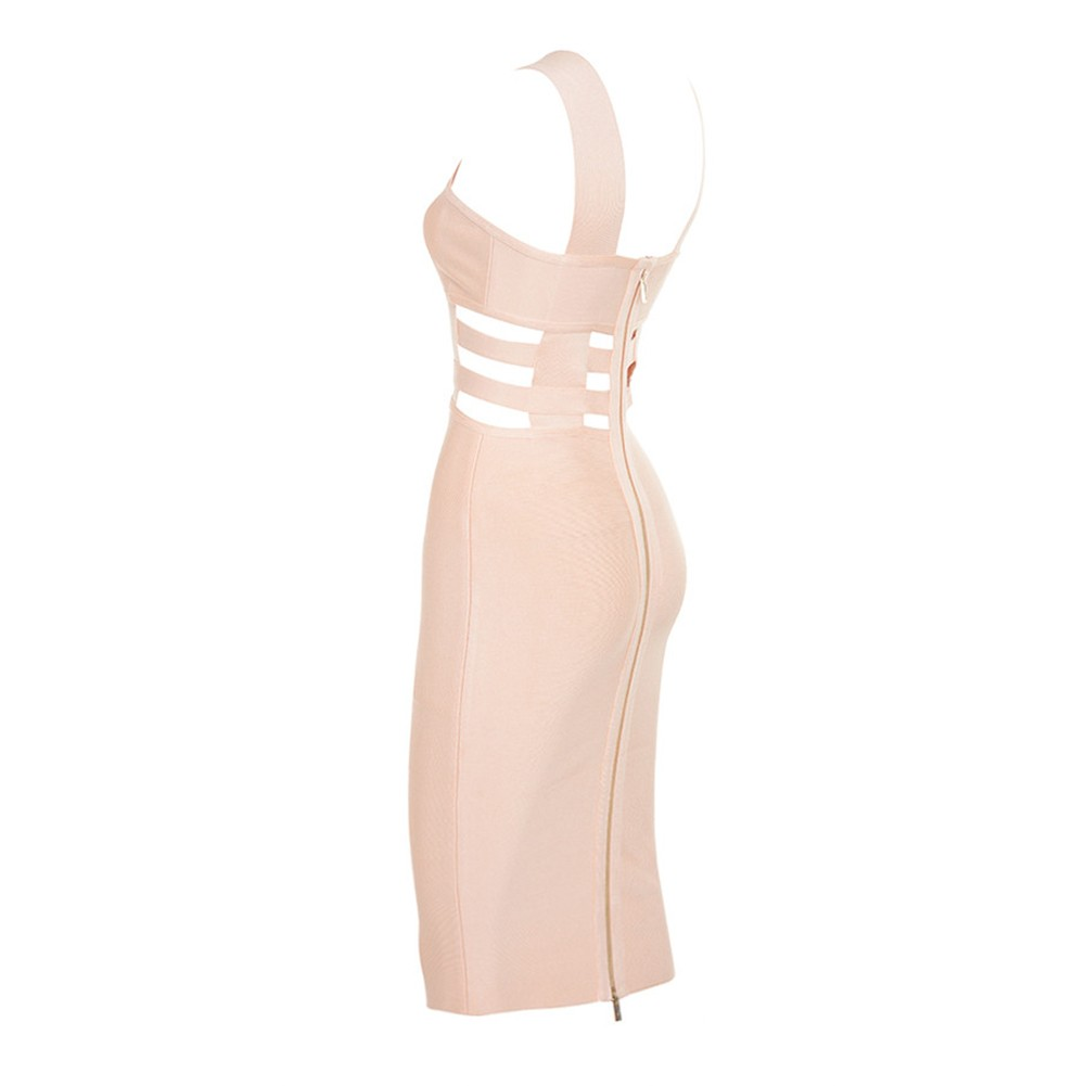 Rayon - Beige Strapy Sleeveless Mini Cut Out High Quality Bandage Dress HJ411-Beige
