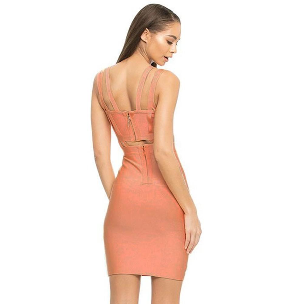 Rayon - Blush Strapy Sleeveless Mini Metal Studded High Quality Bandage Dress HJ414-Blush