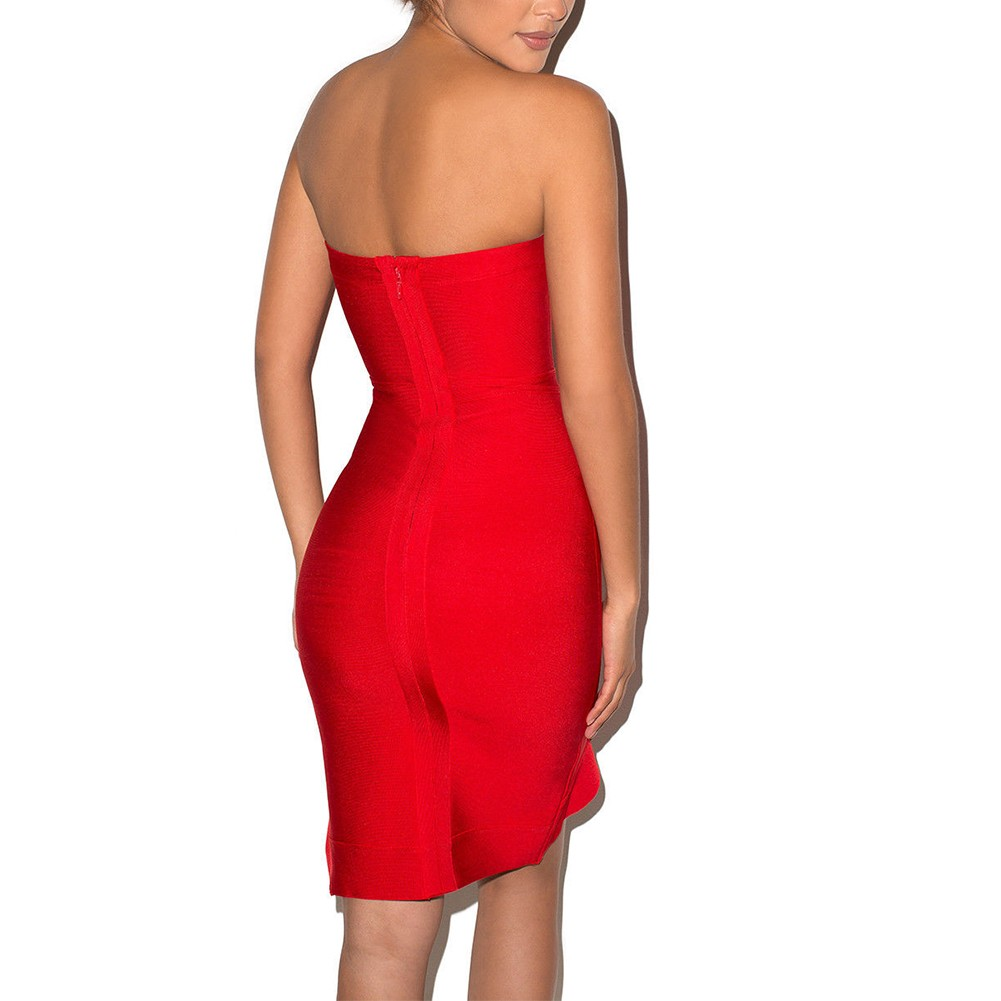 Rayon - Red Strapless Sleeveless Mini Plain Scollop Evening Bandage Dress HJ427-Red