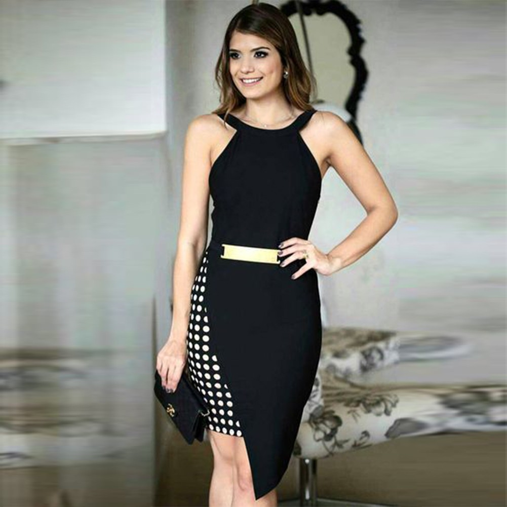 Rayon - Black Halter Sleeveless Over Knee Asymmetrical Metal Embellished Heavy Bandage Dress HJ451-Black