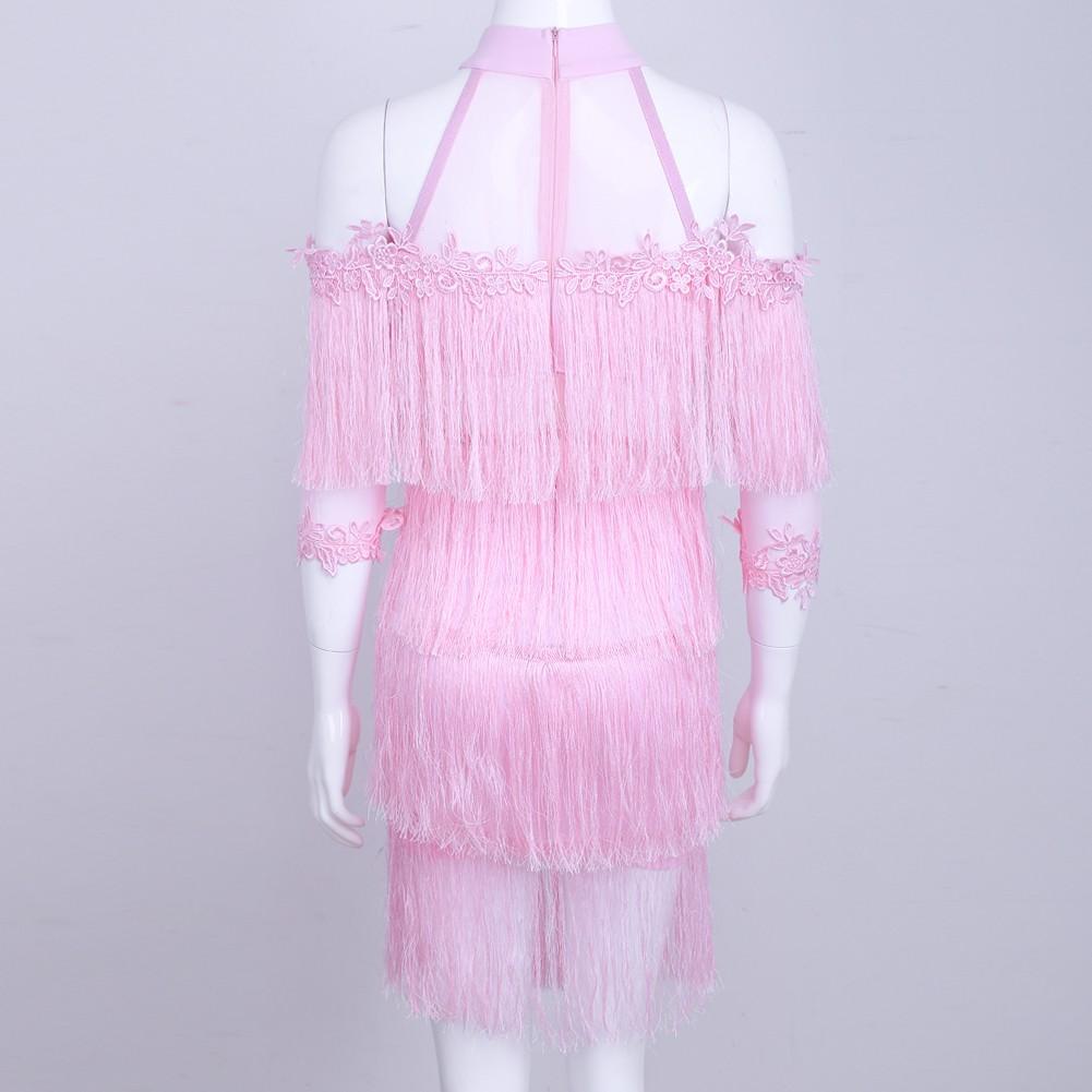 Rayon - Pink Turtle Neck Capsleeve Mini Tasseled Lace Top Quality Bandage Dress HJ455-Pink