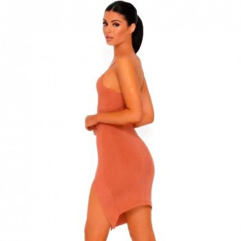 Rayon - Rust Red Strappy Split Dress HJ466-Rust Red