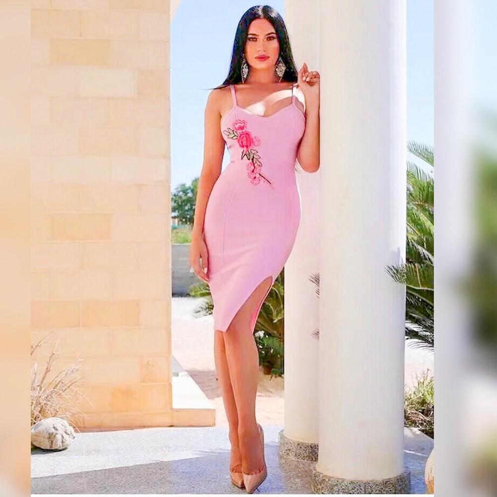 Rayon - Pink Strappy Embroidery Split Dress HJ467-Pink