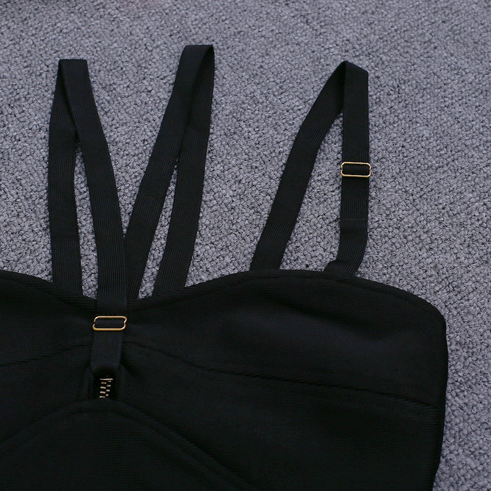 Rayon - Black Strapy Sleeveless Mini Cut Out Elegant Bandage Dress HJ471-Black