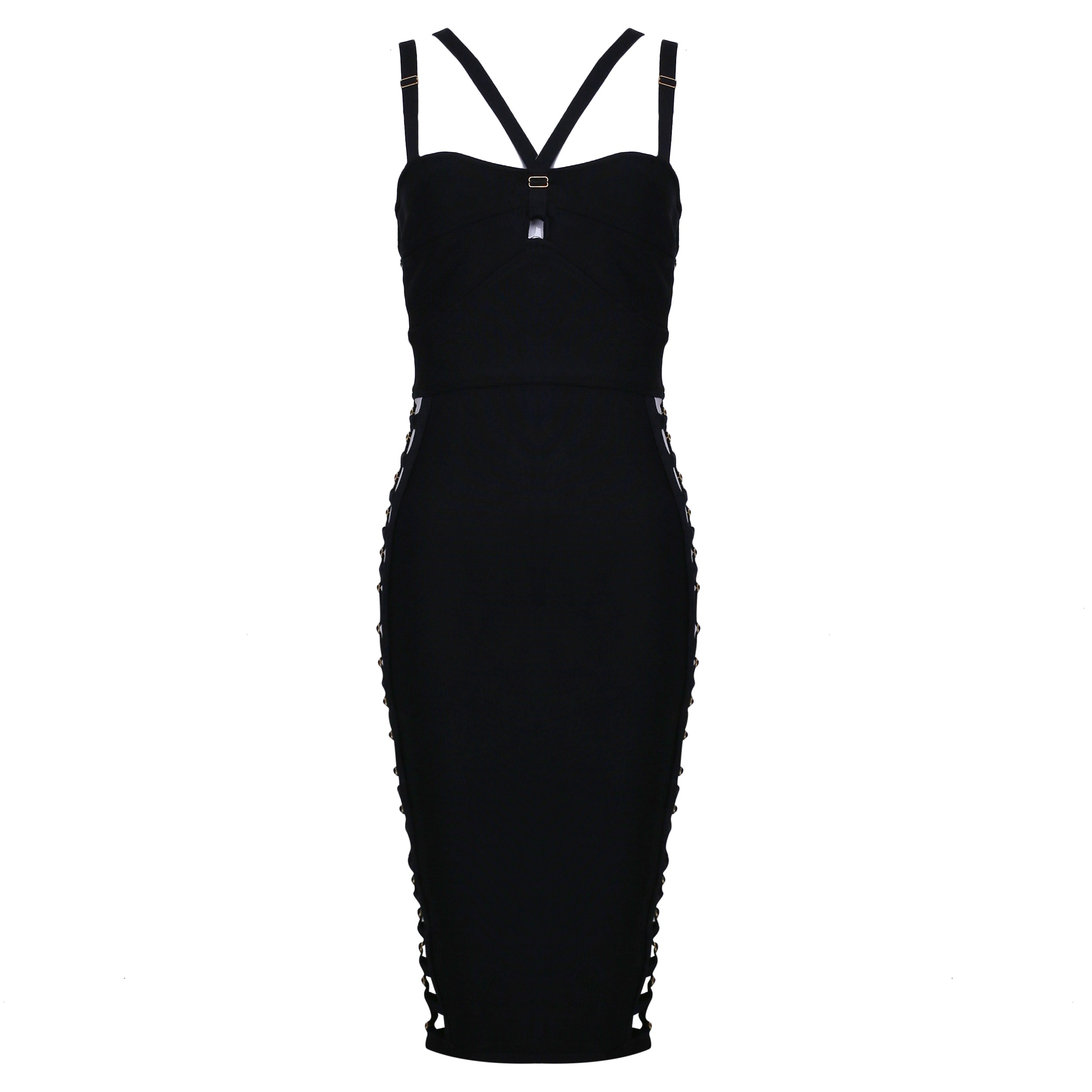 Rayon - Black Strapy Sleeveless Mini Cut Out Elegant Bandage Dress HJ471-Black