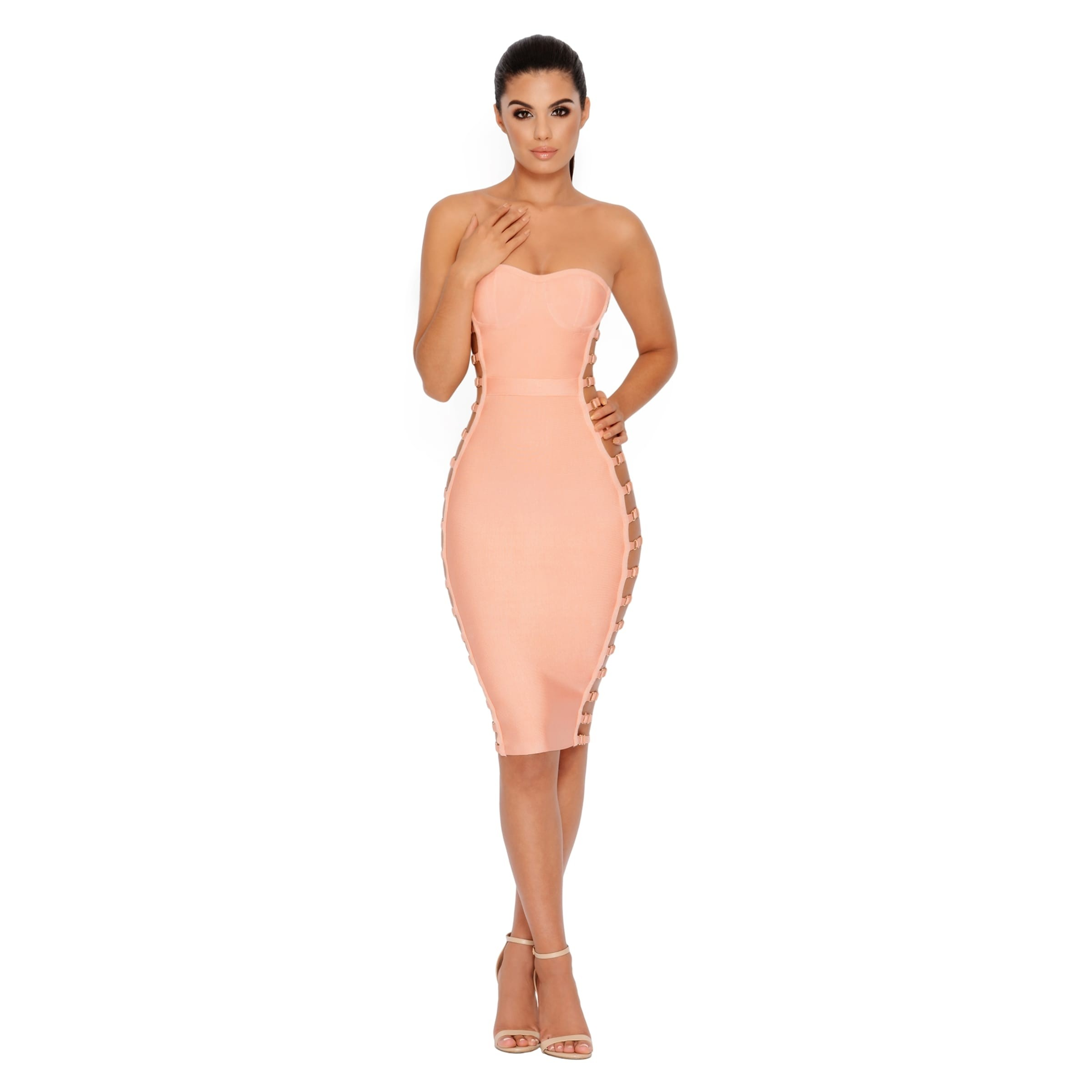 Rayon - Pink Strapless Sleeveless Knee Length Cut Out Party Bandage Dress HJ472-Pink