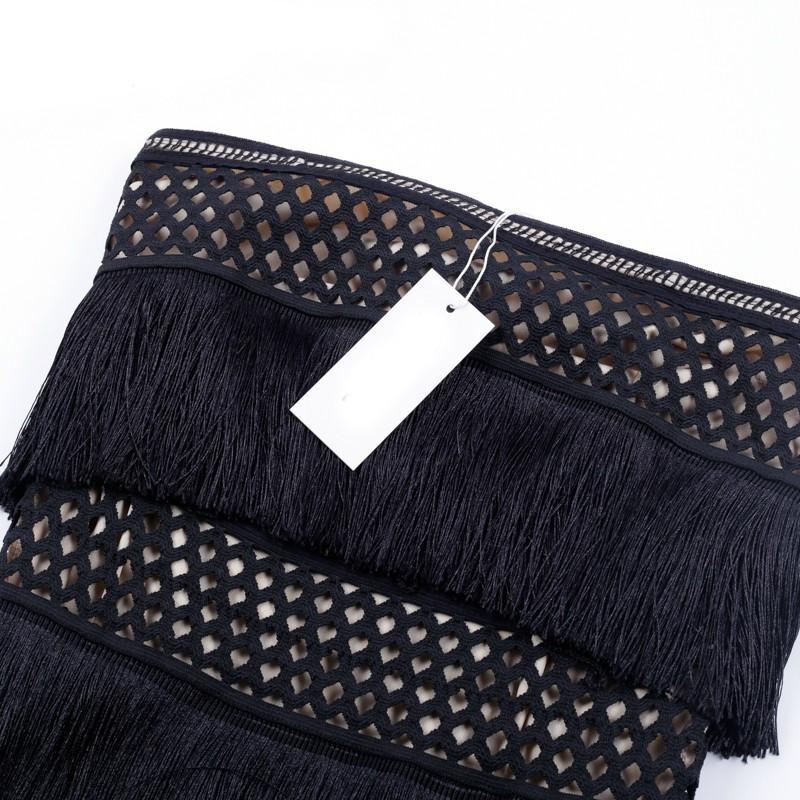 Rayon - Black Strapless A Line A Line Tassled Cake Shape Wholesale Bodycon Dress HJ489-Black