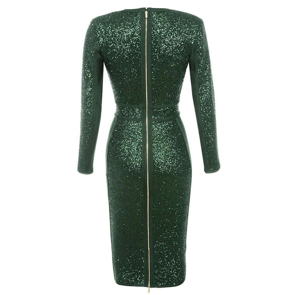 Rayon - Dark Green V Neck Long Sleeve Mini Sequins Party Bandage Dress HJ491-Dark Green