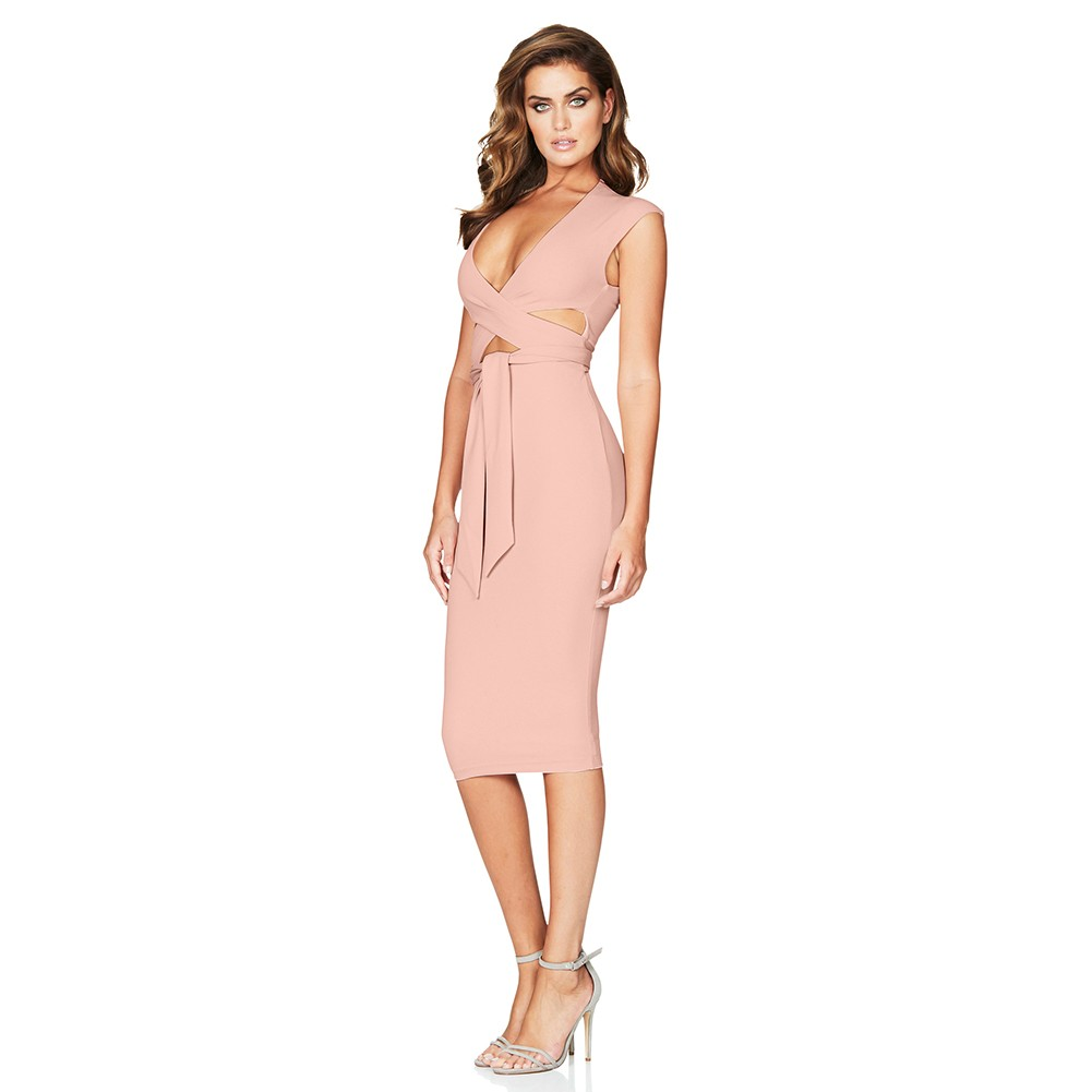 Rayon - Pink V Neck Sleeveless Over Knee Cutout Waistband Fashion Bandage Dress HJ502-Pink