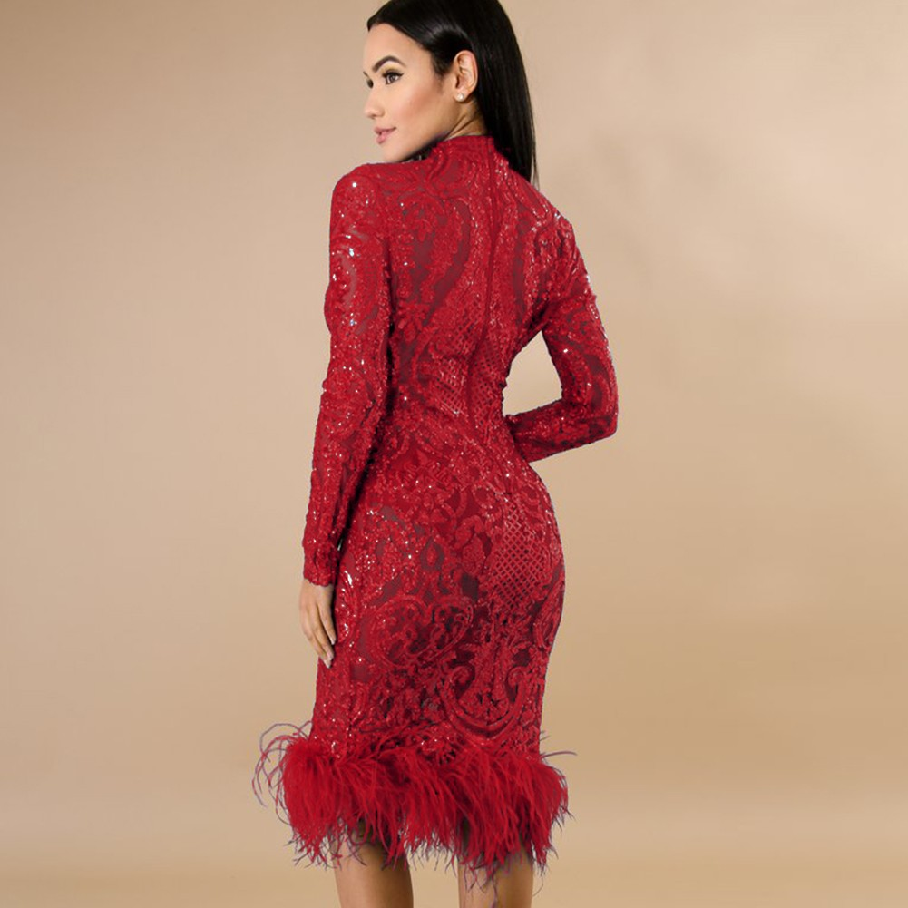 Rayon - Red Turtle Neck Long Sleeve Knee Length Sequined Feather New Year Bodycon Dress HJ506-Red