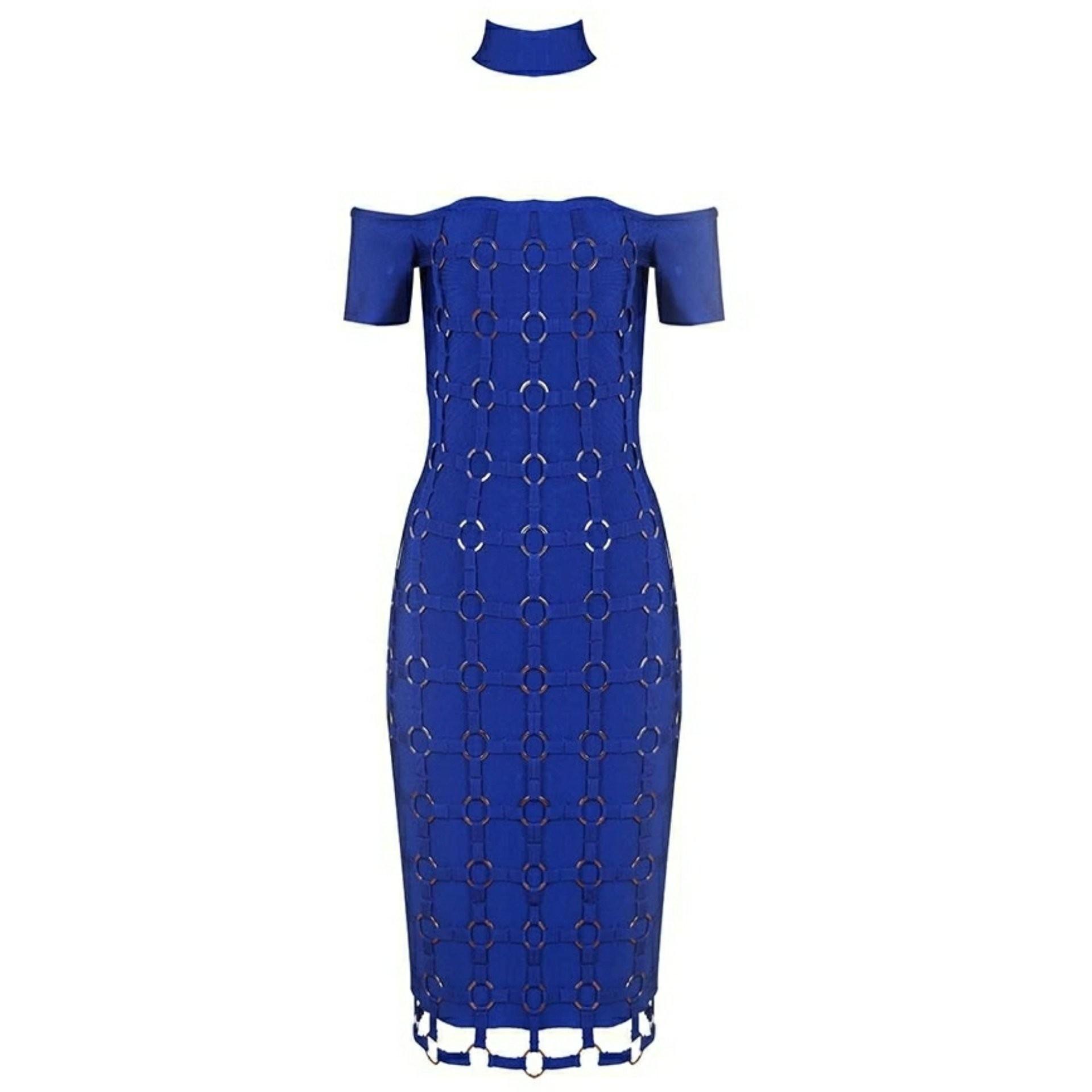 Rayon - Blue Halter Cap Sleeve Over Knee Metal Embellished Weaved Heavy Bandage Dress HJ509-Blue