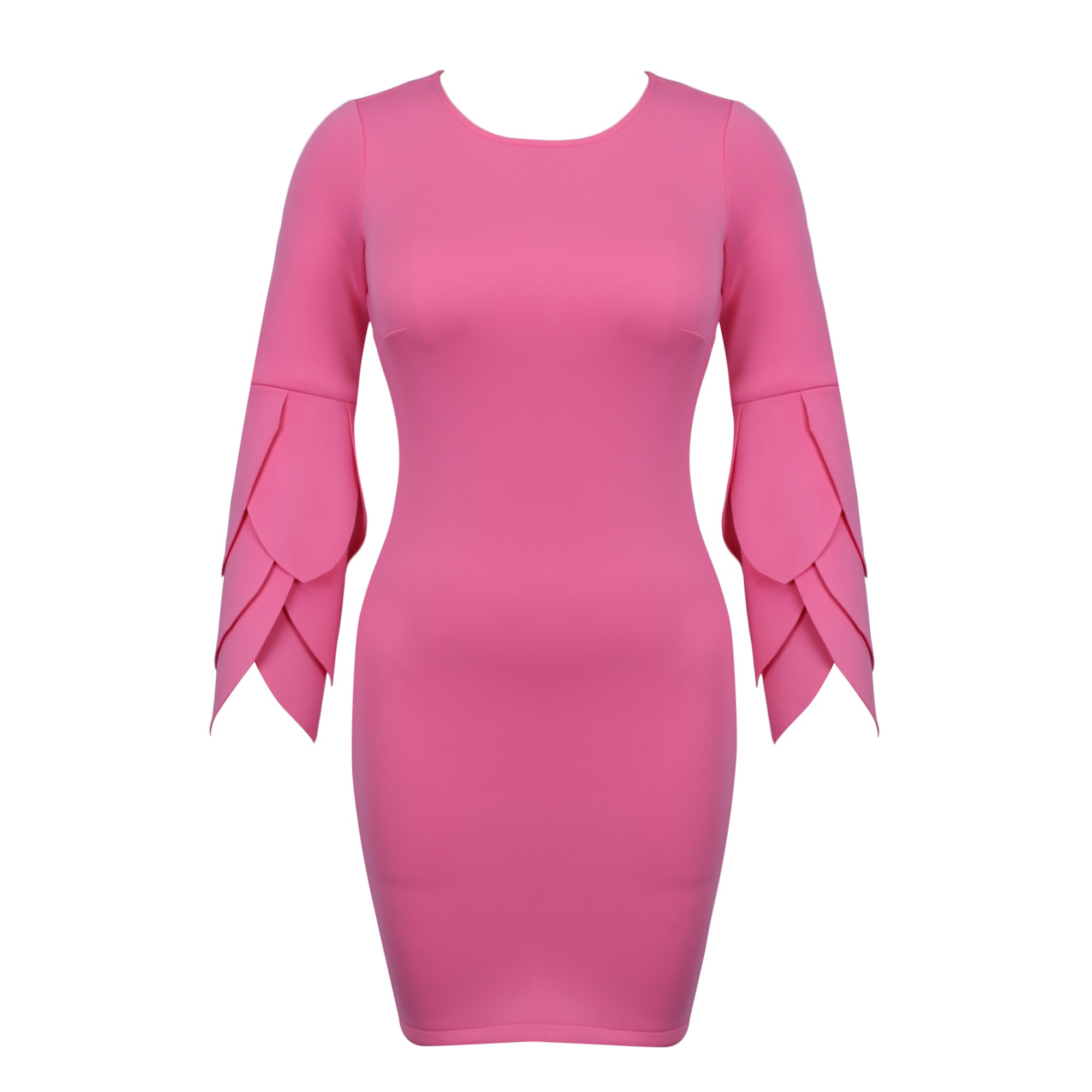 Rayon - Pink Round Neck Long Sleeve Knee Length Scolloped Sleeves Memory Foam Exaggerated Bodycon Dress HJ511-Pink