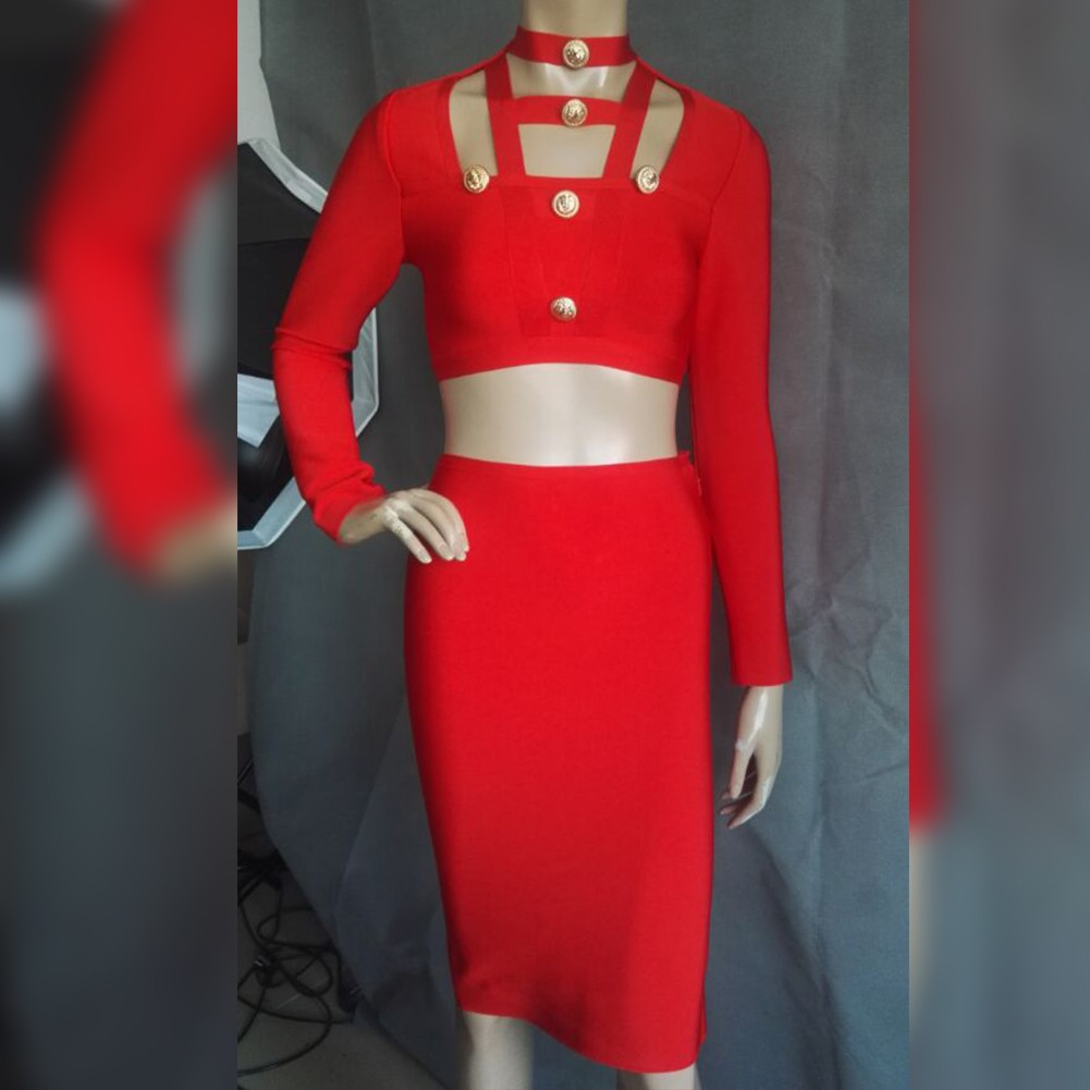 Rayon - Red Halter Long Sleeve 2 Piece Metal Embellished Skirt Slitted Party Bandage Dress HJ512-Red
