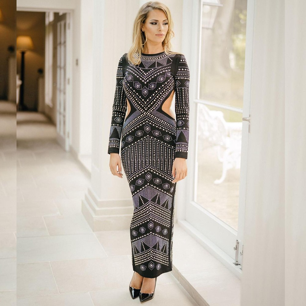 Rayon - Black Round Neck Long Sleeve Maxi Diamente Embellished Backless Evening Bodycon Dress HJ513-Black