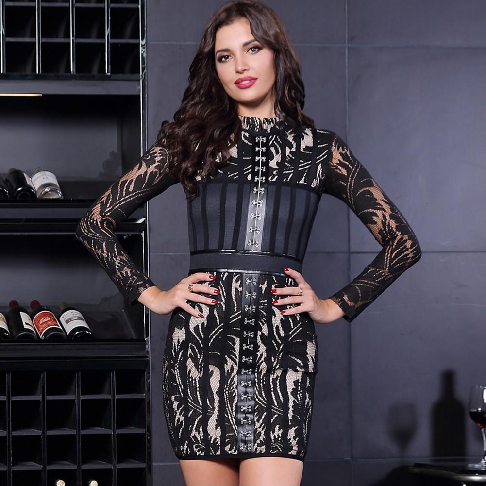 Rayon - Black Round Neck Long Sleeve Mini Evening Bodycon Dress HJ519-Black