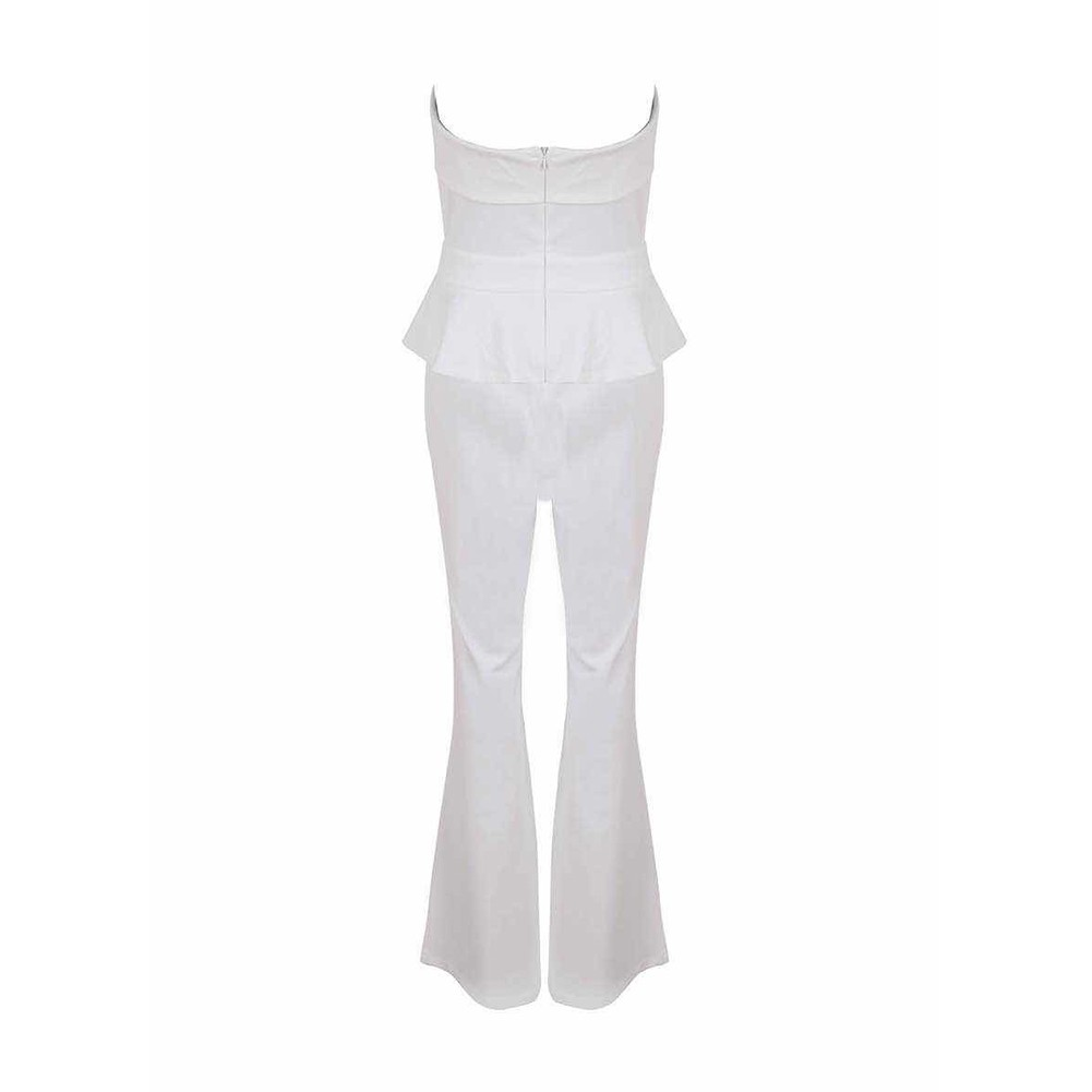 Rayon - White Strapless Sleeveless 2 Piece Maxi Loose Pants High Quality Jumpsuits HJ535-White
