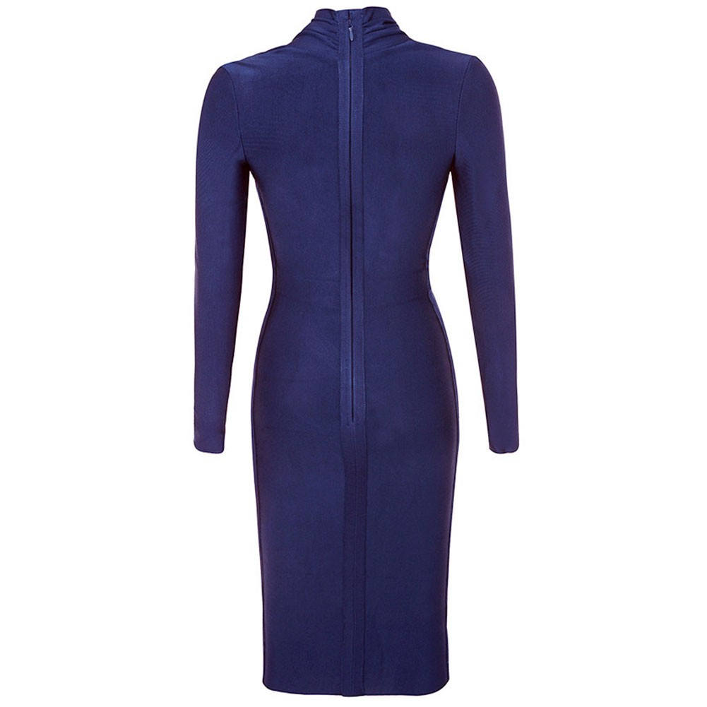Rayon - Royal Blue V Neck Long Sleeve Knee Length High Quality Bandage Dress HJ649-Royal-Blue