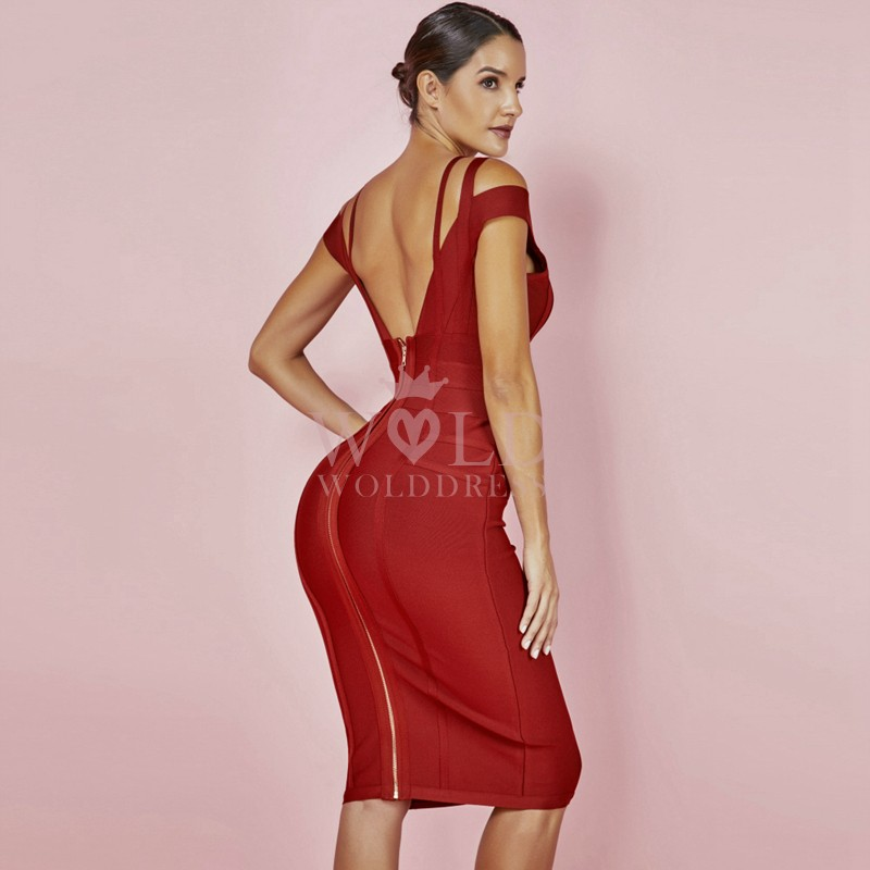 Red Strapy Capsleeve Mini Plain Party Bandage Dress HK003-Red