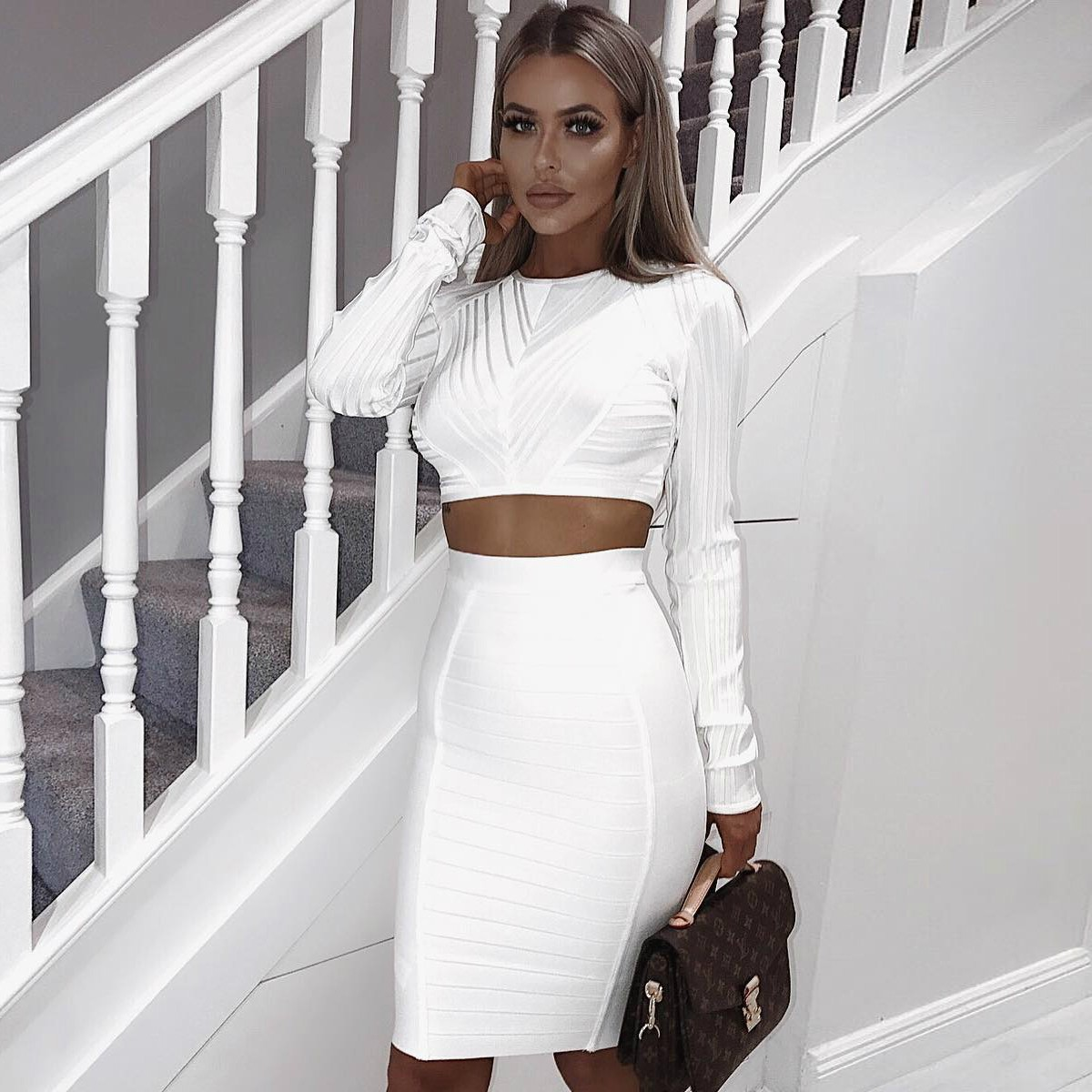 White Round Neck Long Sleeve 2 Piece Plain Simpleness High Quality Bandage Dress HK014-White