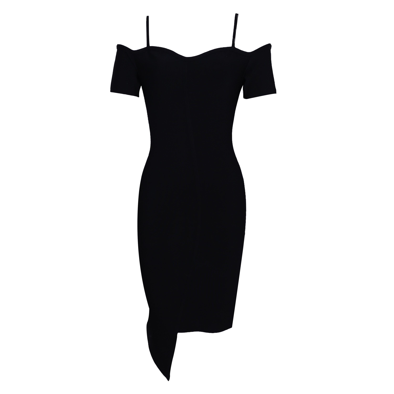 Black Strapy Short Sleeve Mini Off Shoulder Fashion Bandage Dress HK017-Black