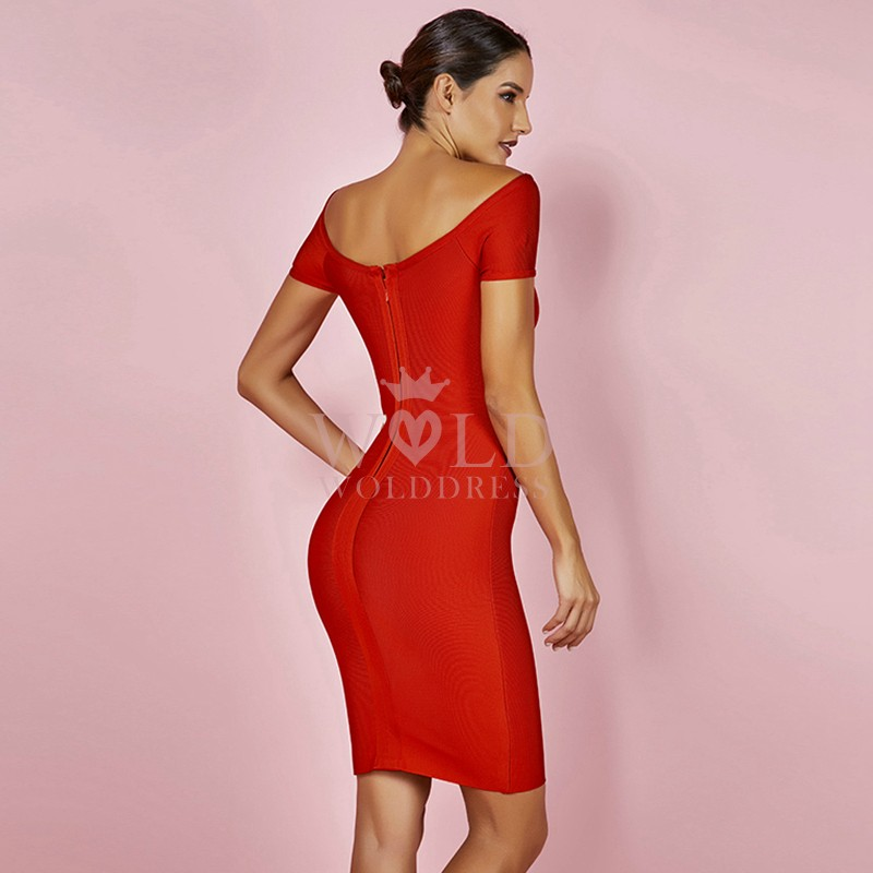 Red Off Shoulder Sleeveless Mini Cut Out Elegant Bandage Dress HK030-Red