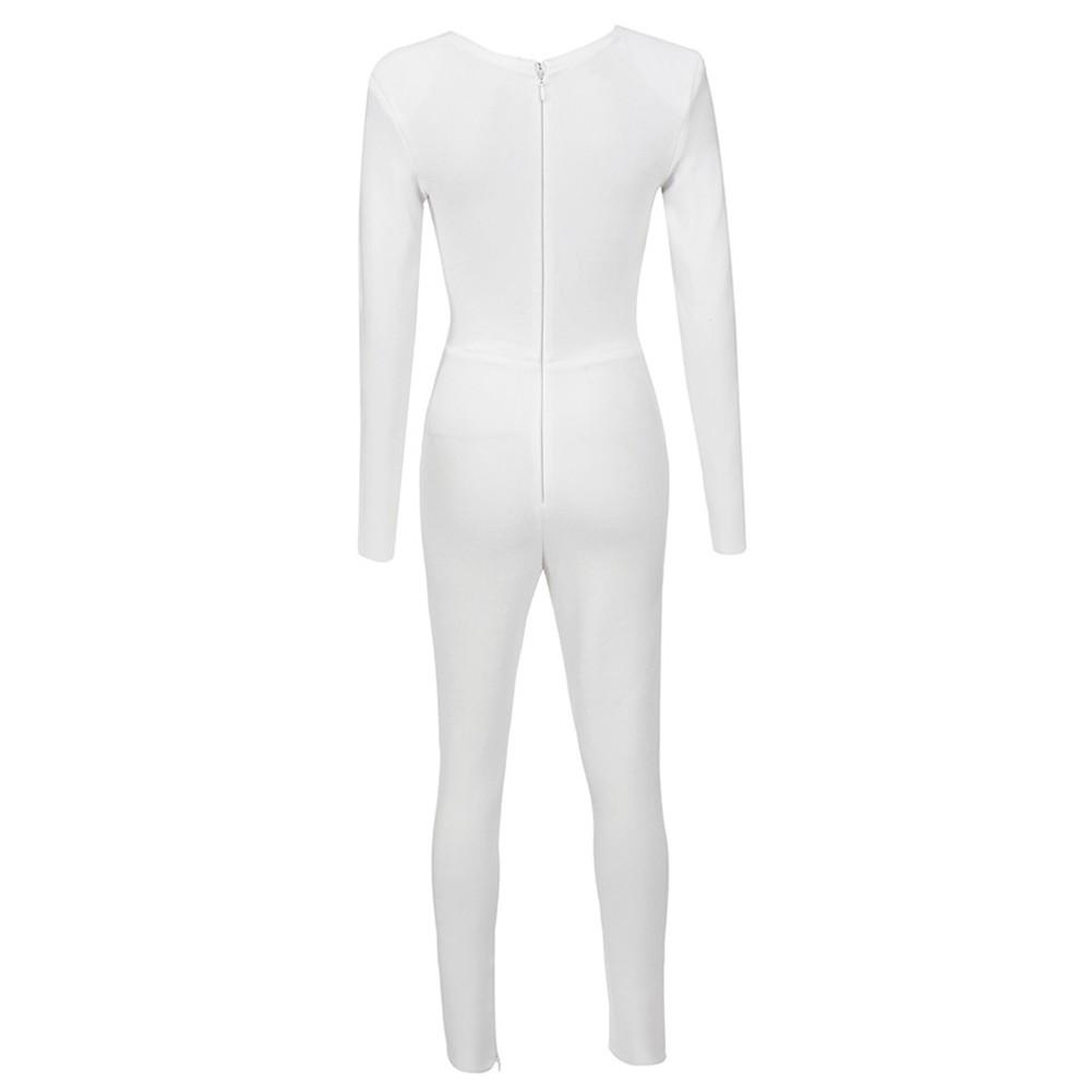 White V Neck Long Sleeve Maxi Beads Decoration High Quality Bandage Jumpsuit HK032-White