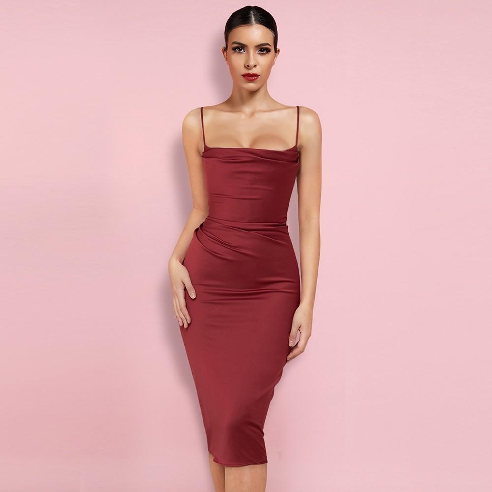 Wine Backless Plain Over Knee Sleeveless Strappy Bodycon Dress HL8377-Wine