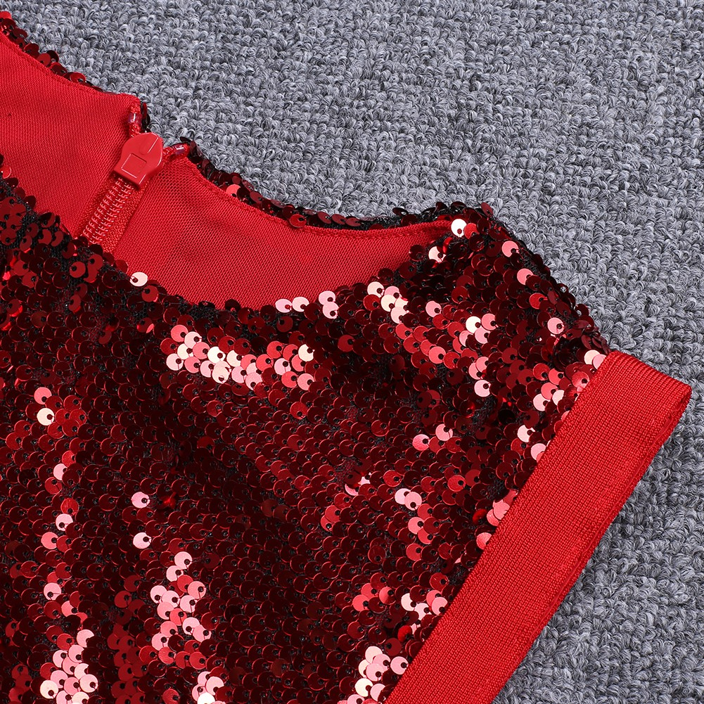 Rayon - Red Round Neck Sleeveless Mini Sequined Side Lace Up Clubwear Bodycon Dress H0107-Red