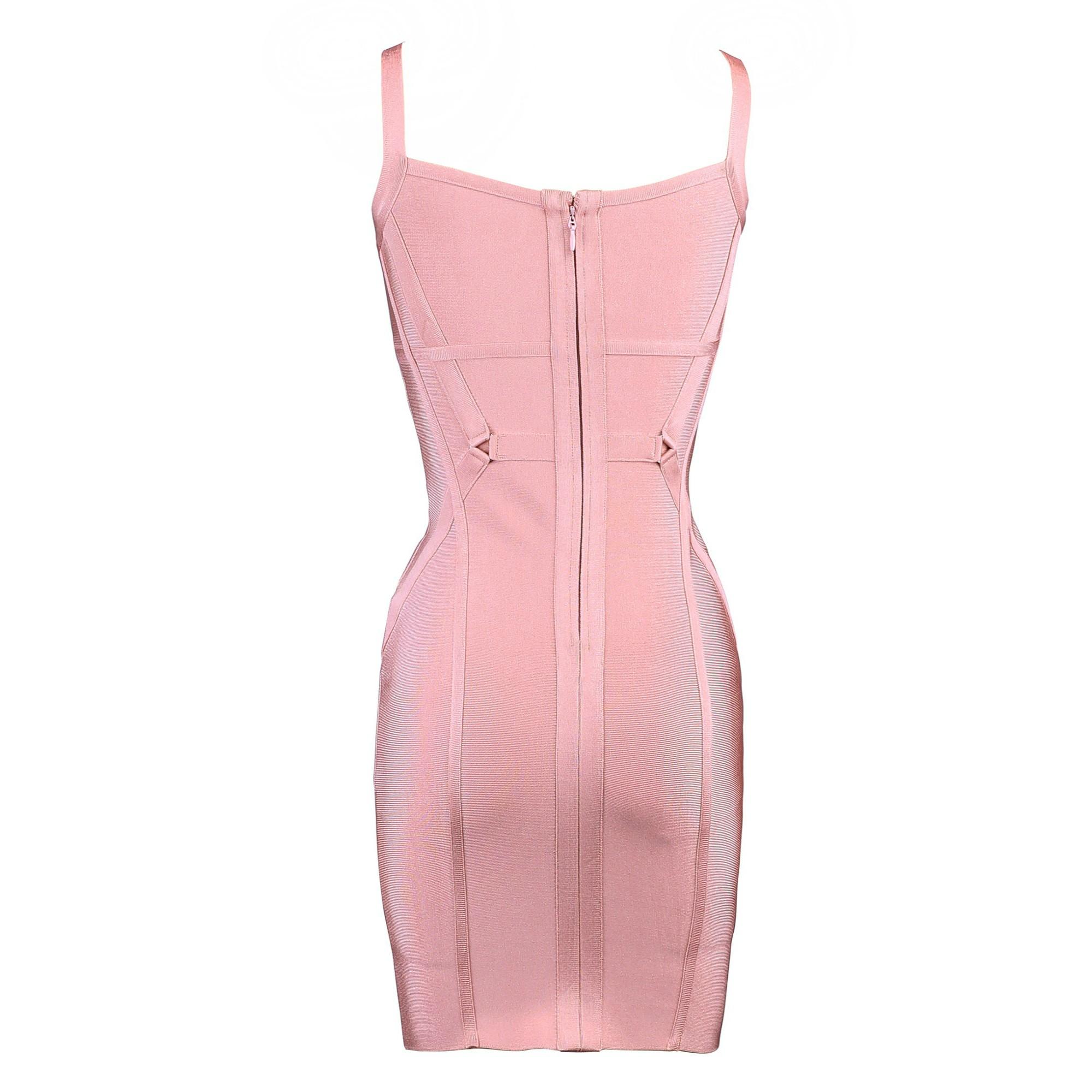 Rayon - Pink Strapy Sleeveless Mini Cut Out Cheap Bandage Dress H0108-Pink