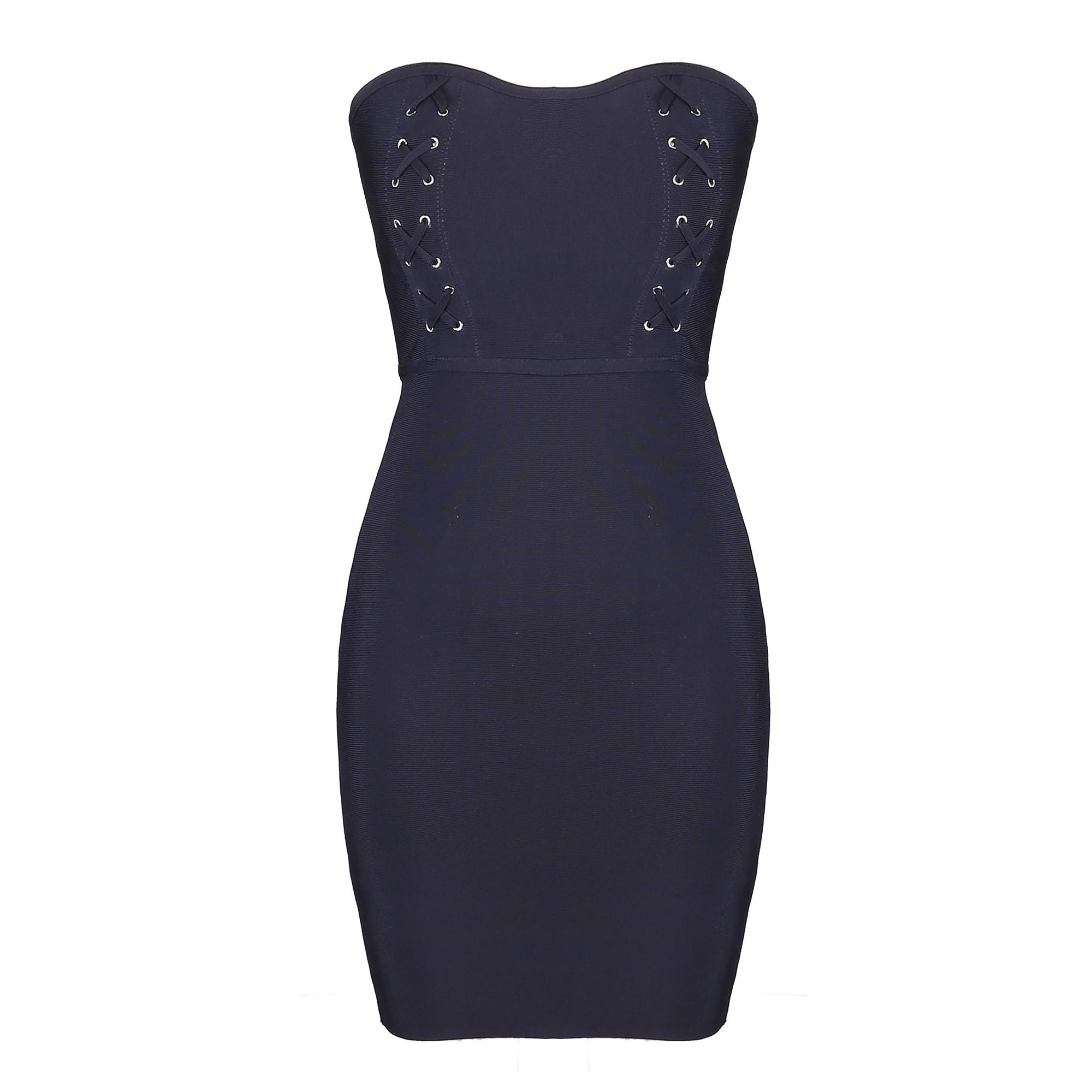 Rayon - Black Strapless Sleeveless Mini Metal Studded Lace Up Sexy Bandage Dress H0110-Black