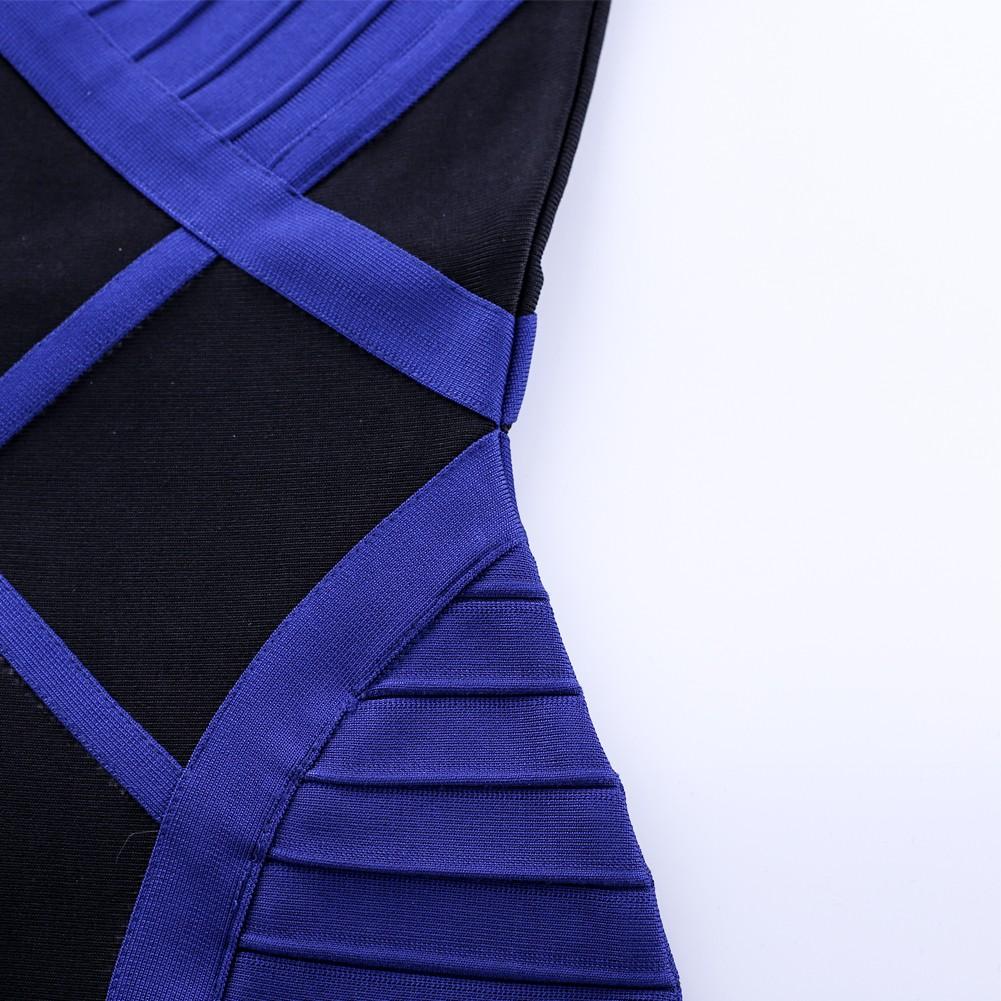Blue V Neck Short Sleeve Knee Length Cut Out High Quality Bandage Dress HQ199-Blue