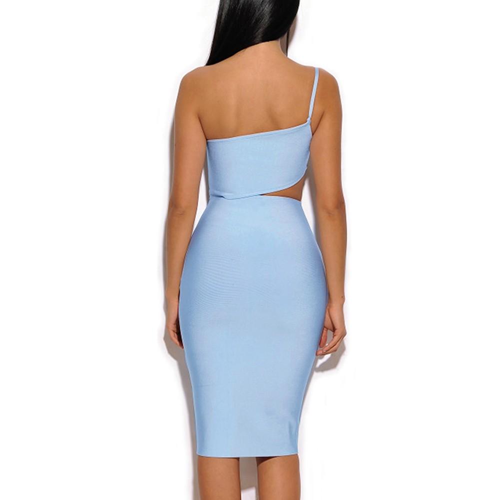 Light Blue Strapless Sleeveless Mini Cut Out Fashion Bandage Dress HQ202-Light Blue