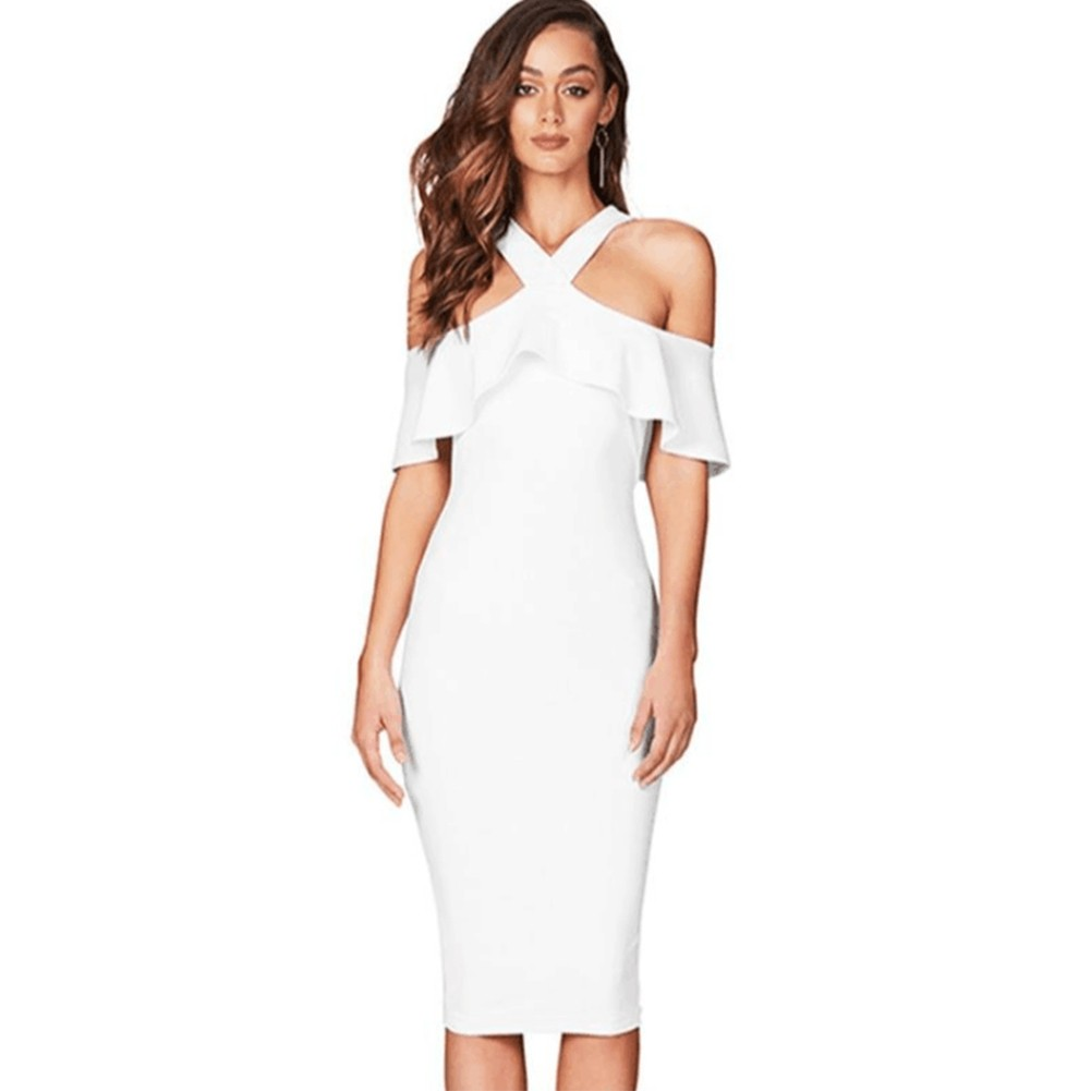 White Halter Short Sleeve Over Knee Peplum High Quality Bandage Dress HQ218-White