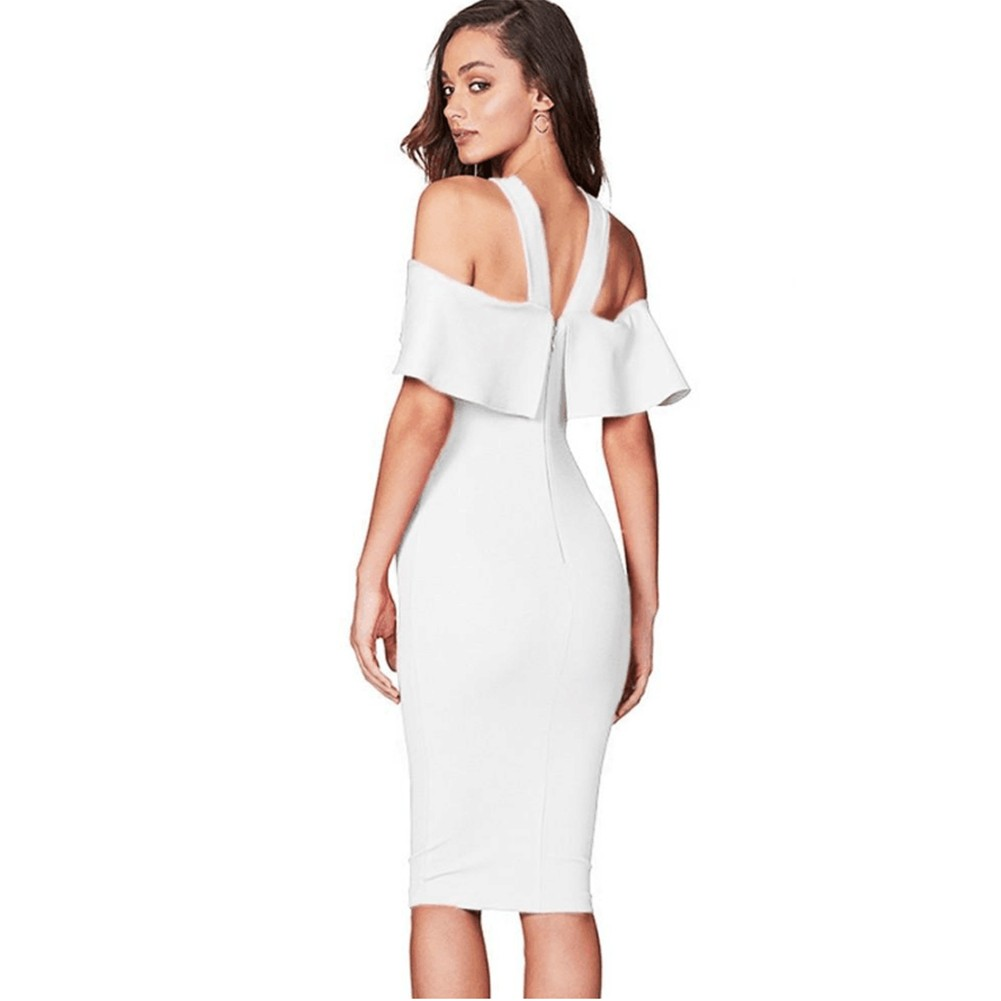 White Halter Short Sleeve Over Knee Peplum High Quality Bandage Dress HQ218-White
