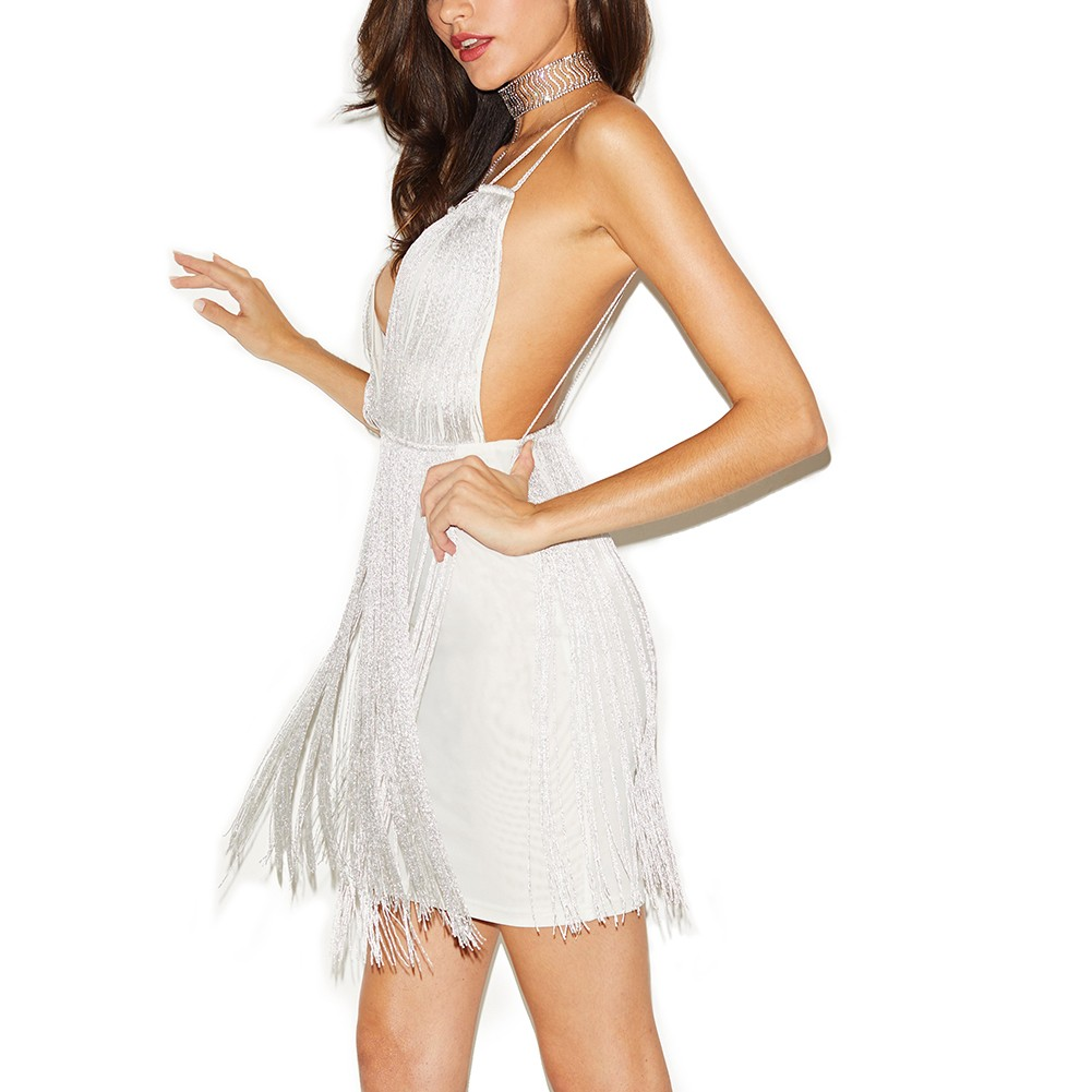 White Strapy Sleeveless Mini Tassels Back Vent Fashion Bandage Dress HQ225-White