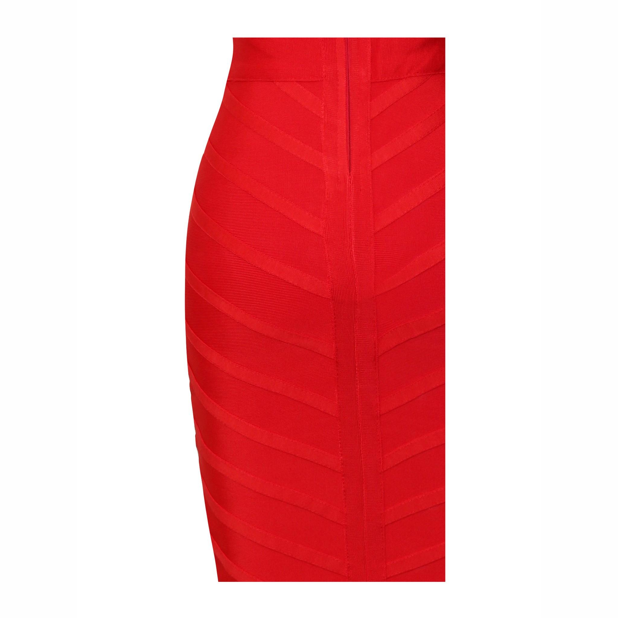 Round Neck Sleeveless Mini Beaded Mesh Red Fashion Bandage Dress HT0015-RED