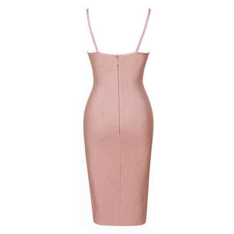 Fashion Strapy Sleeveless Mini Pink Cutout Bandage Dress HT0055-PINK