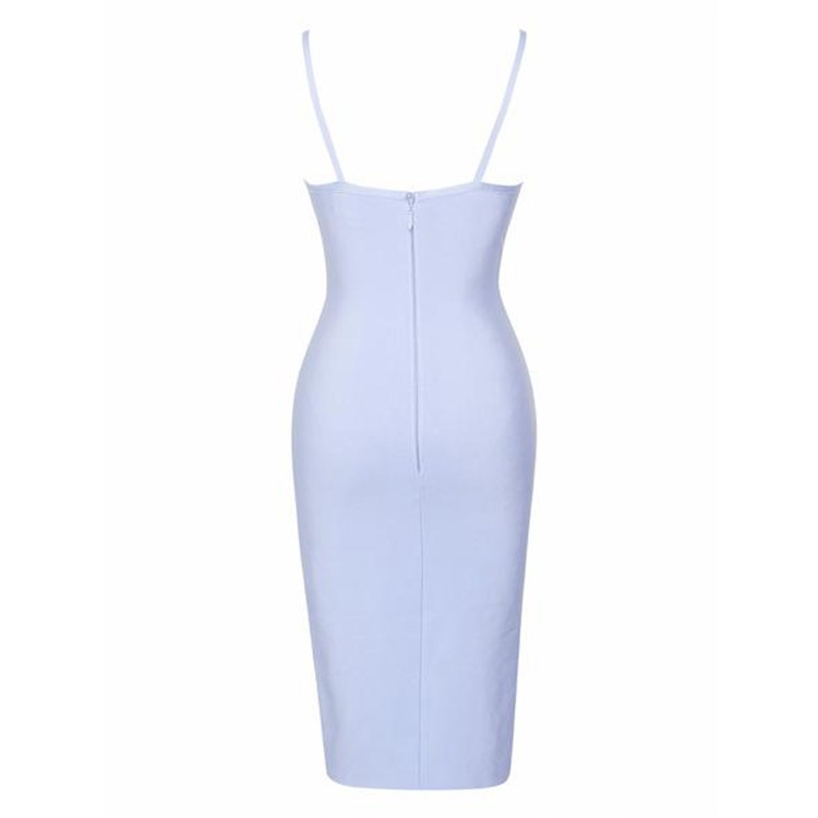 Fashion Strapy Sleeveless Mini Light Blue Cutout Bandage Dress HT0055-Light Blue