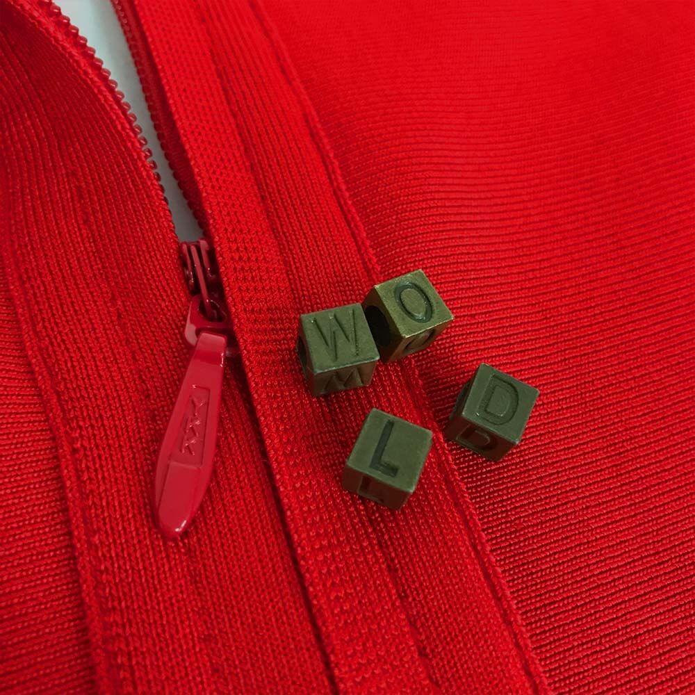 New Deep V Neck Longsleeves Red Mesh Bandage Dress HT0058-Red