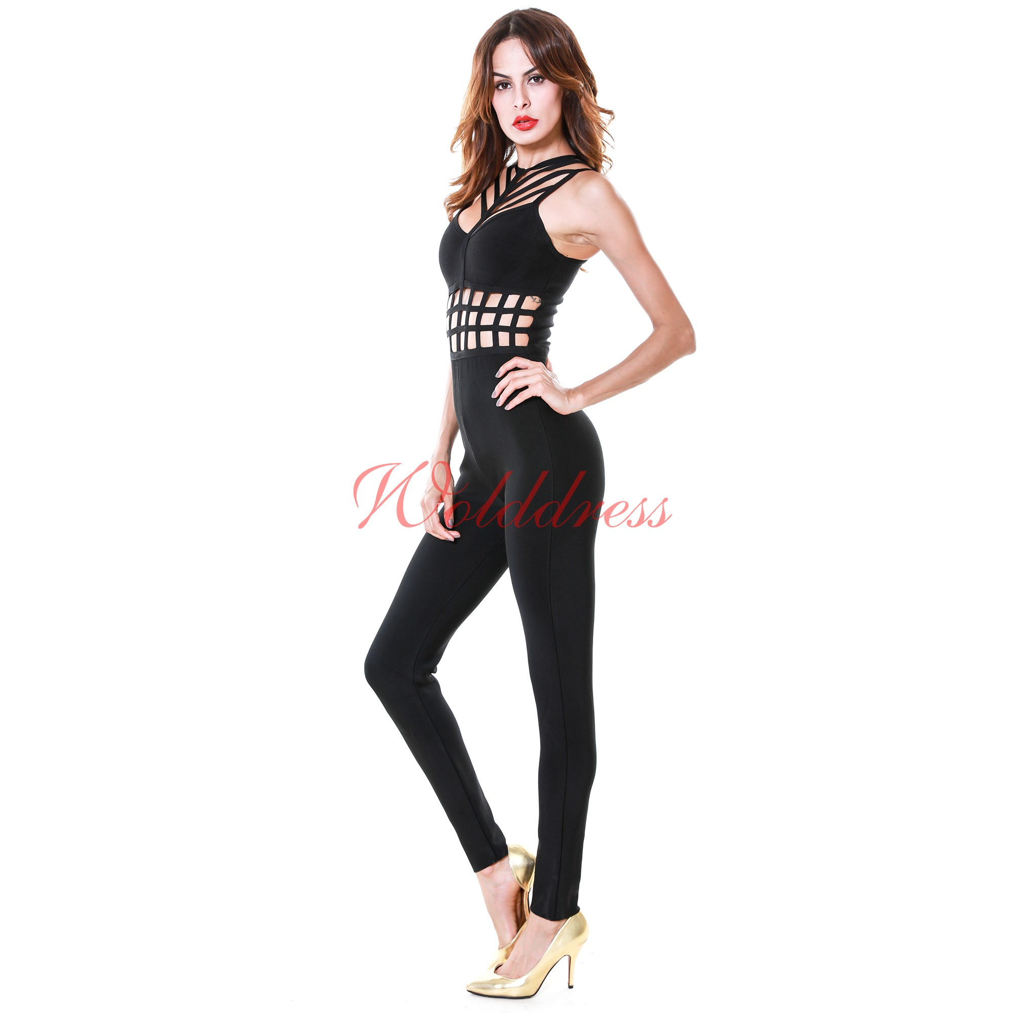 Sexy Halter Sleeveless Black Cut Out Bandage Jumpsuits HT0061-Black