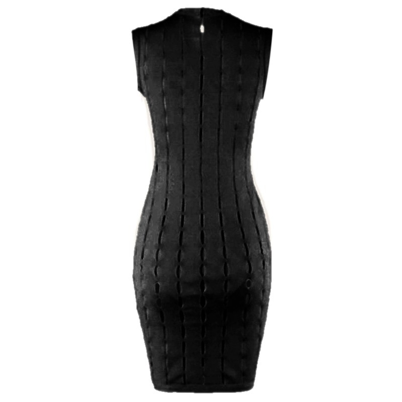 Fashion Round Neck Sleeveless Mini Black Hallow Out Bandage Dress Ht0065-Black