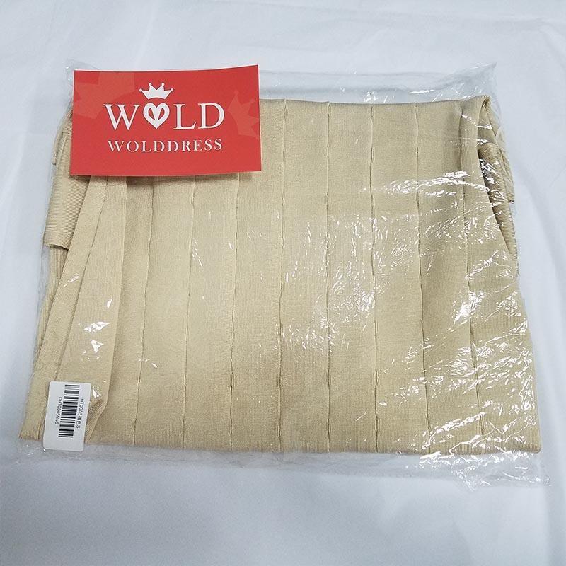 Fashion Round Neck Sleeveless Mini Nude Hallow Out Bandage Dress Ht0065-Nude